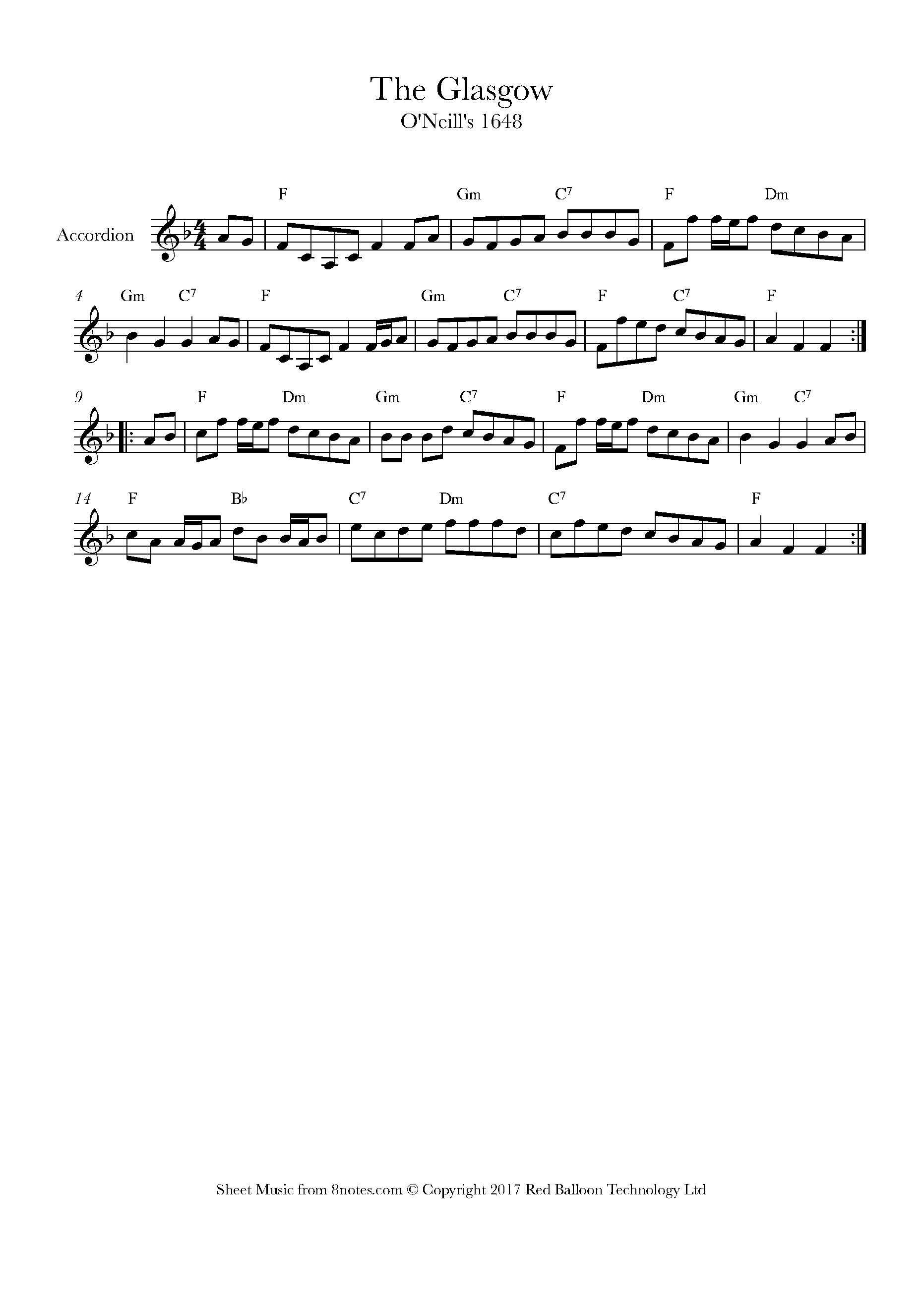 the glasgow (irish hornpipe) sheet music for accordion - 8notes.com  8notes