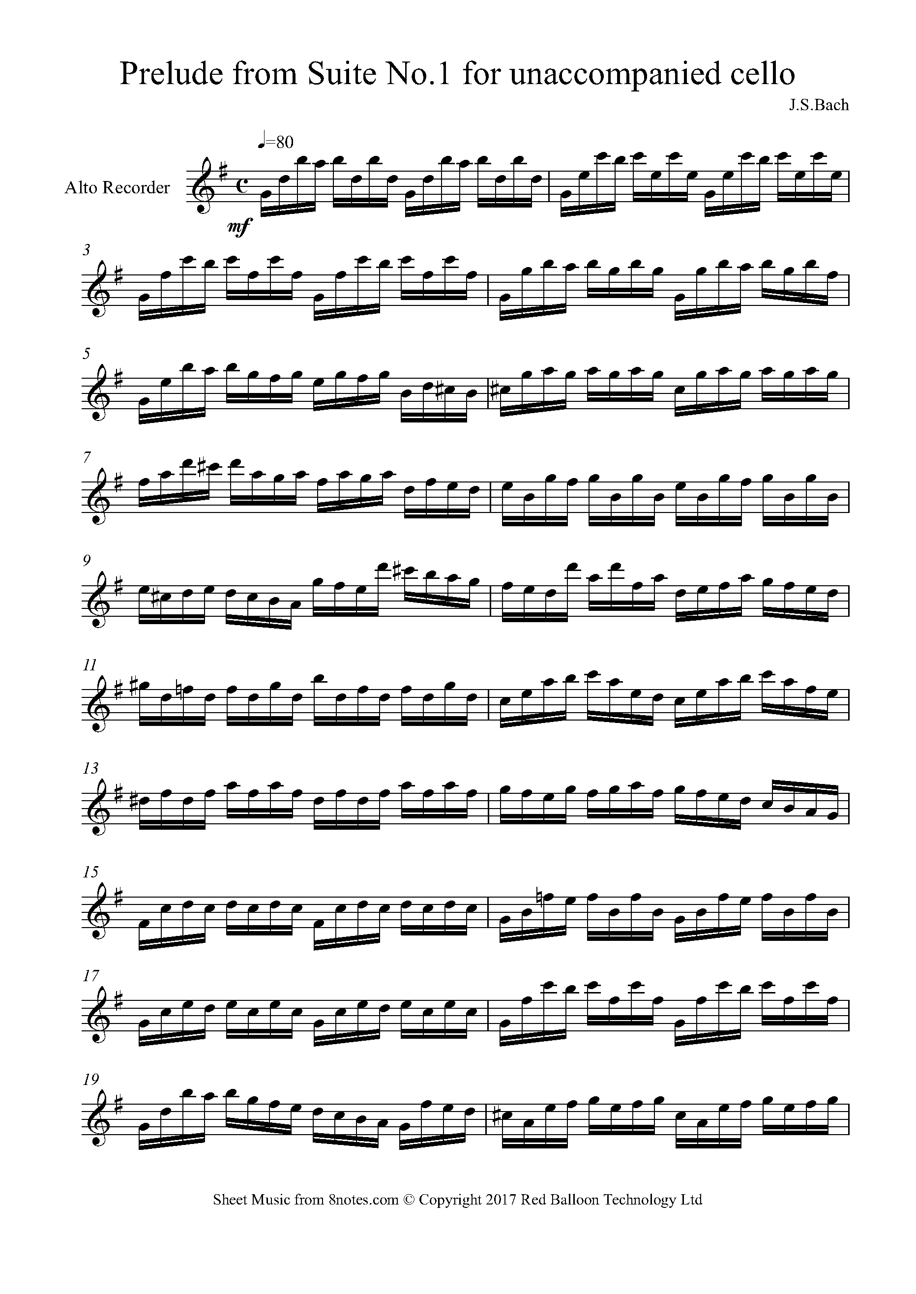 bach - prelude from suite no.1 for unaccompanied cello sheet music for alto  recorder - 8notes.com  8notes