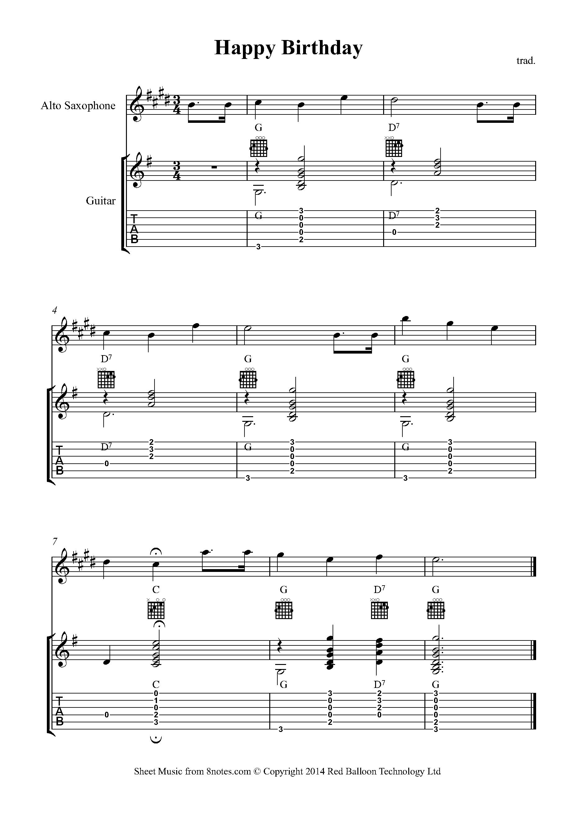 Happy Birthday To You Sheet Music For Alto Sax Guitar Duet 8notes Com