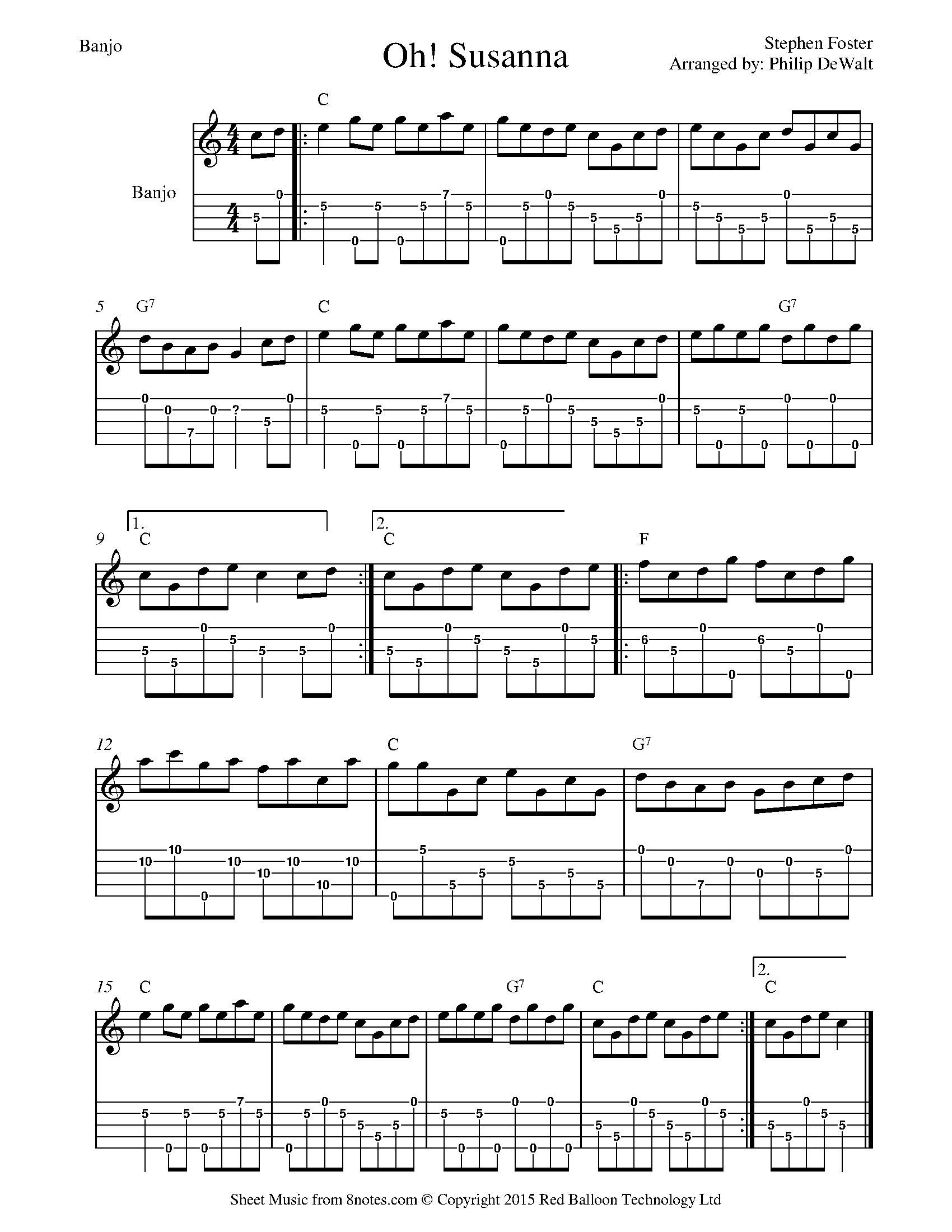 stephen foster - oh susanna sheet music for banjo - 8notes.com  8notes