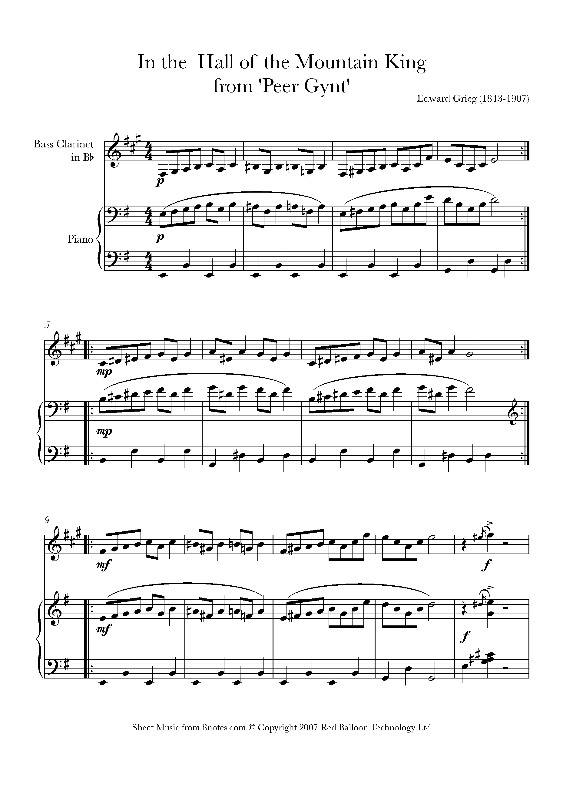 Grieg In The Hall Of The Mountain King Sheet Music For Bass Clarinet 8notes Com