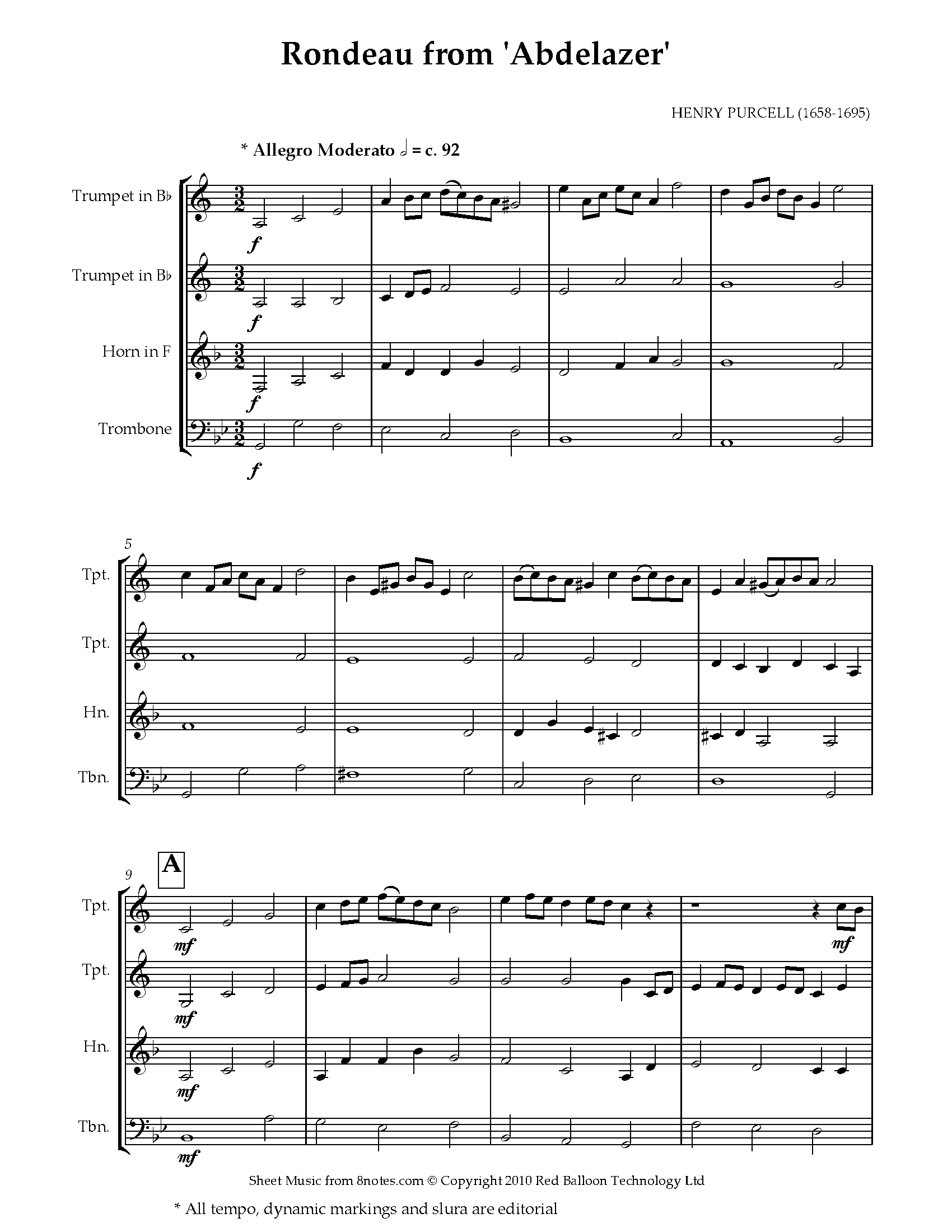 purcell - rondeau from abdelazer sheet music for brass quartet - 8notes.com  8notes