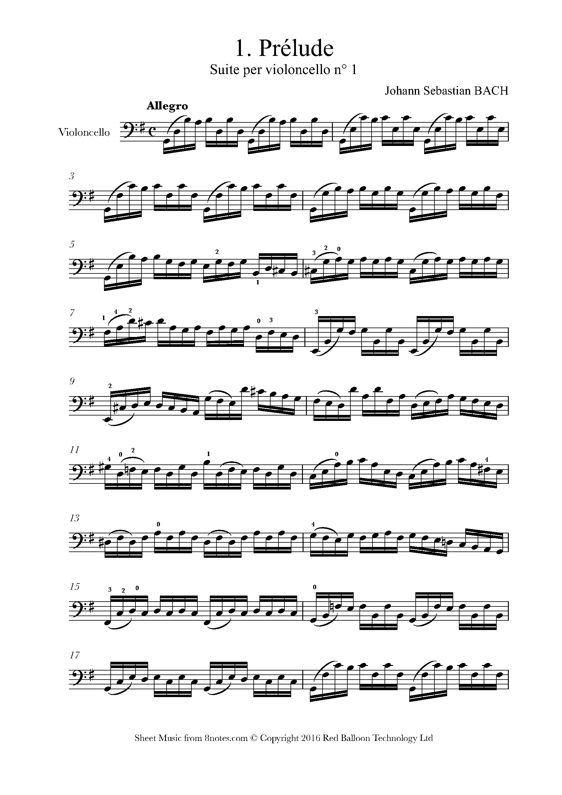bach - cello suite no.1 in g major, bwv 1007 (complete) sheet music for  cello - 8notes.com  8notes