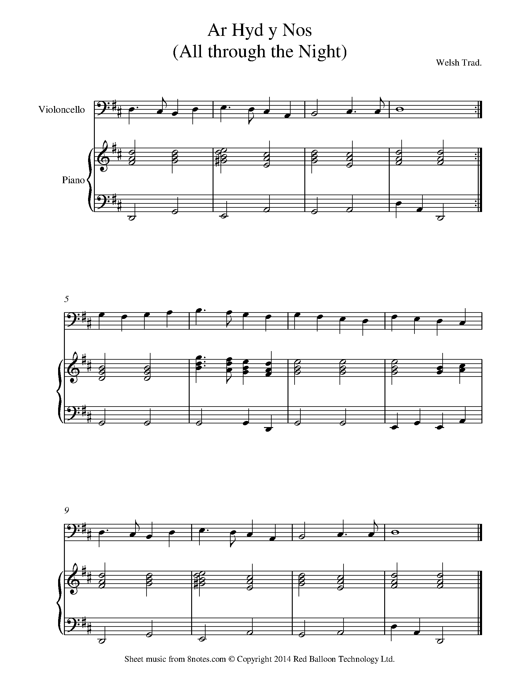 ar hyd y nos -all through the night (traditional welsh) sheet music for  cello - 8notes.com  8notes