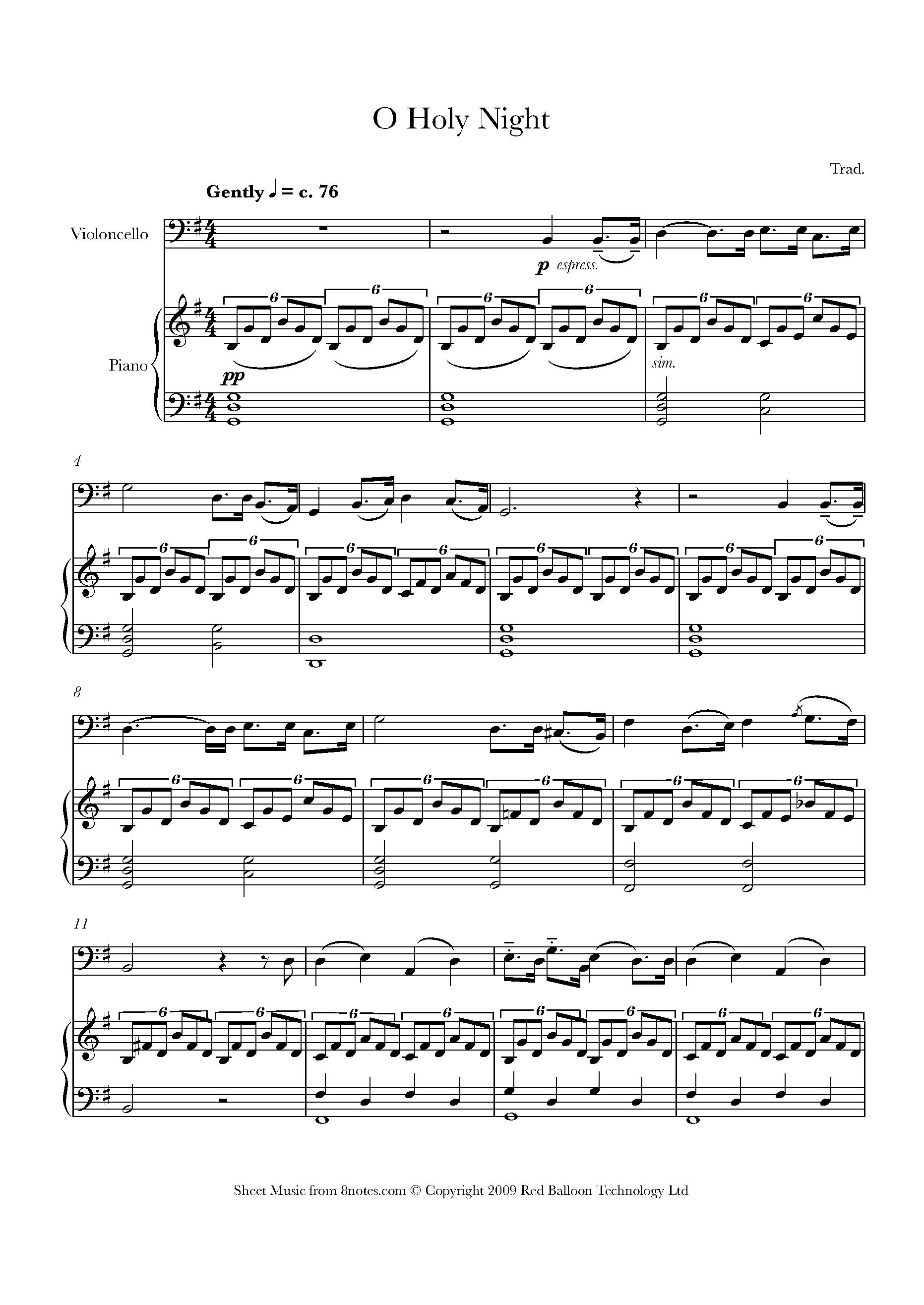 O Holy Night Sheet Music For Cello 8notescom