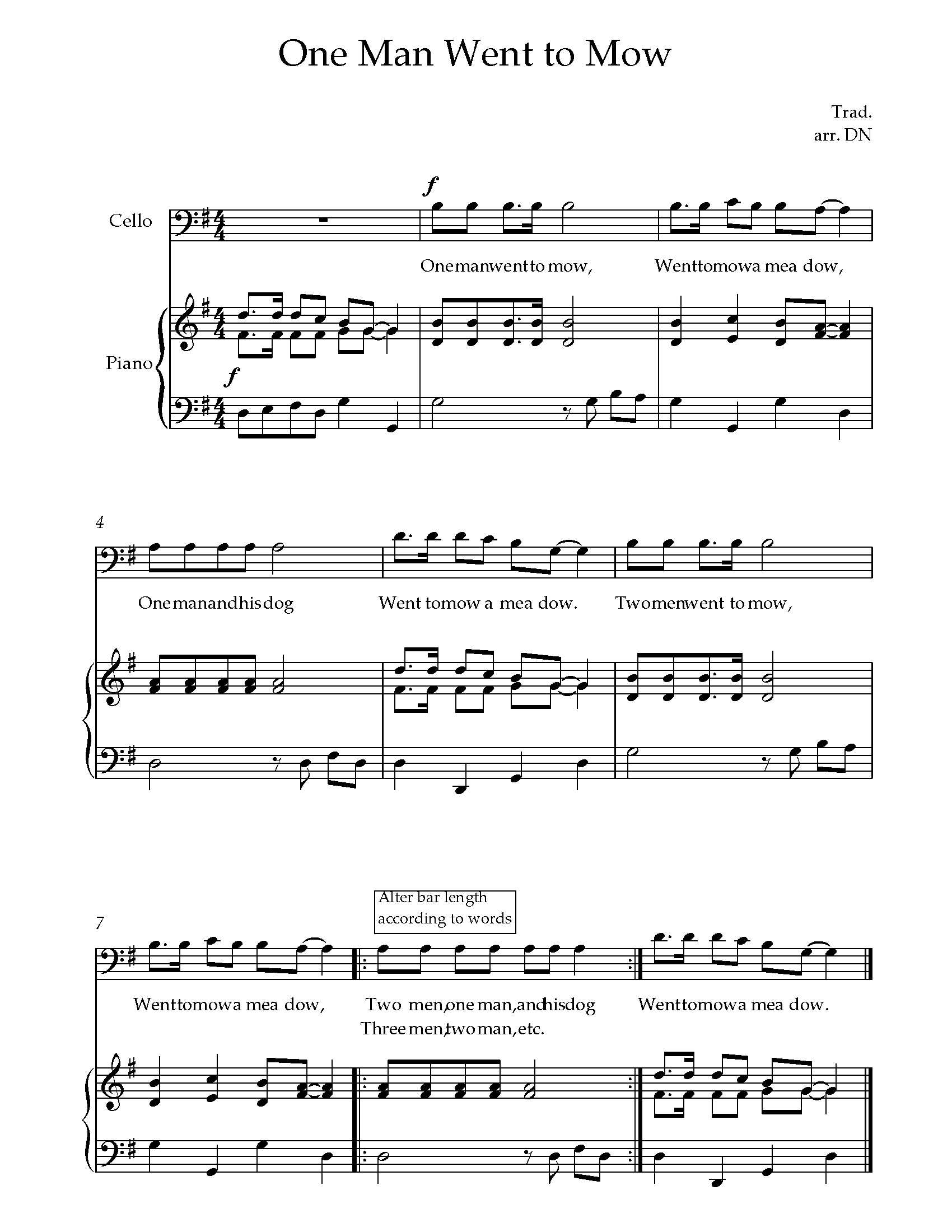 one man went to mow sheet music for cello - 8notes.com  8notes