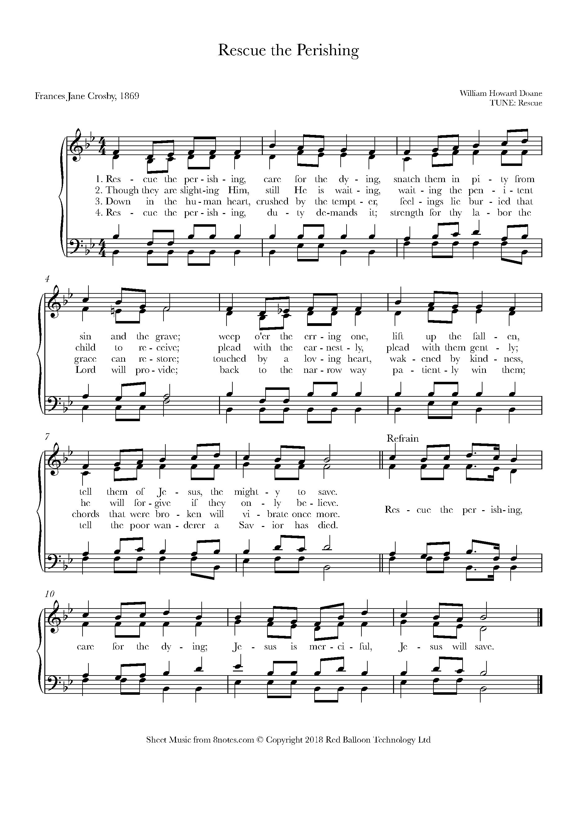 doane - rescue the perishing sheet music for choir - 8notes.com  8notes