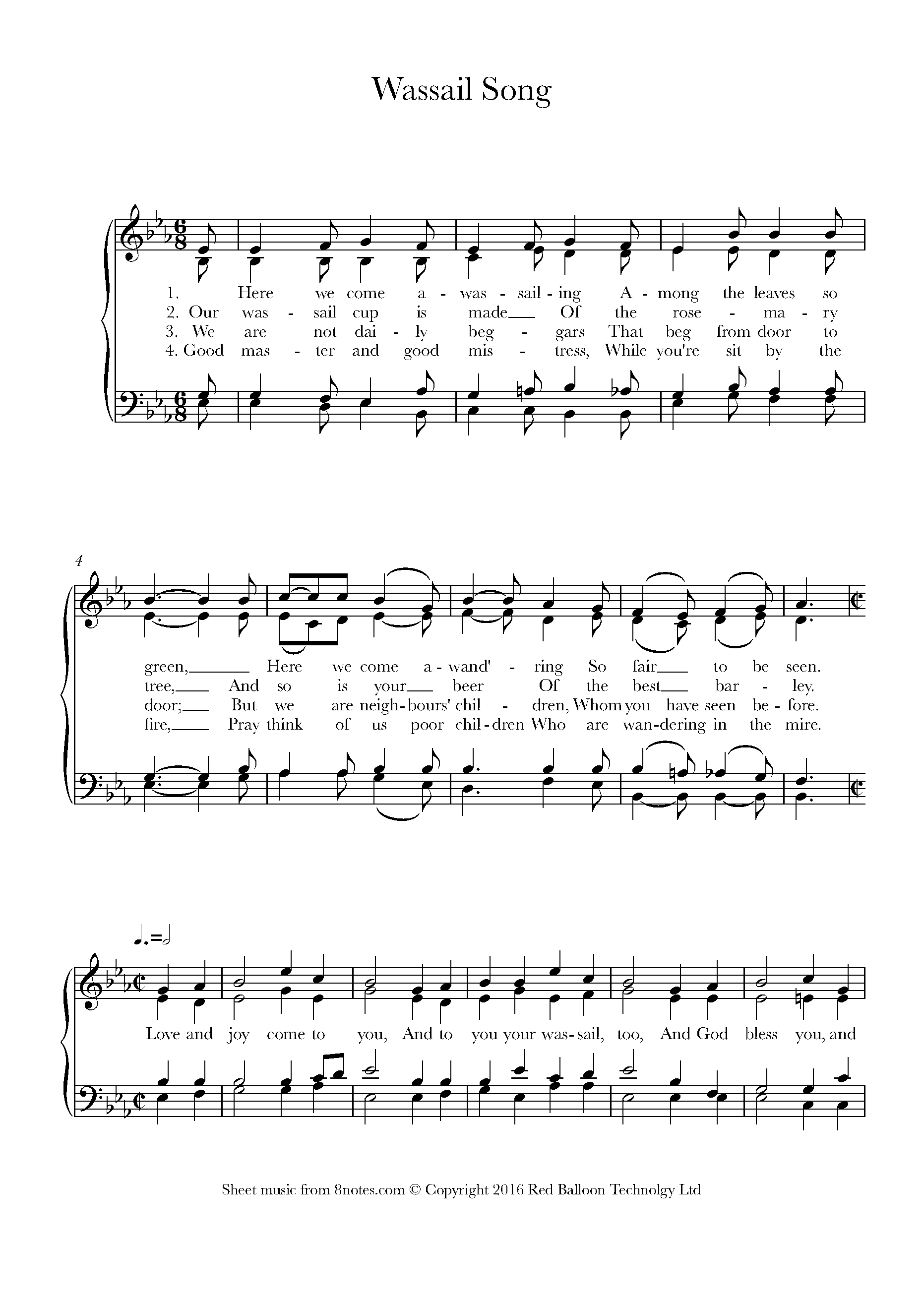 wassail song (here we come a-wassailing) sheet music for choir - 8notes.com  8notes