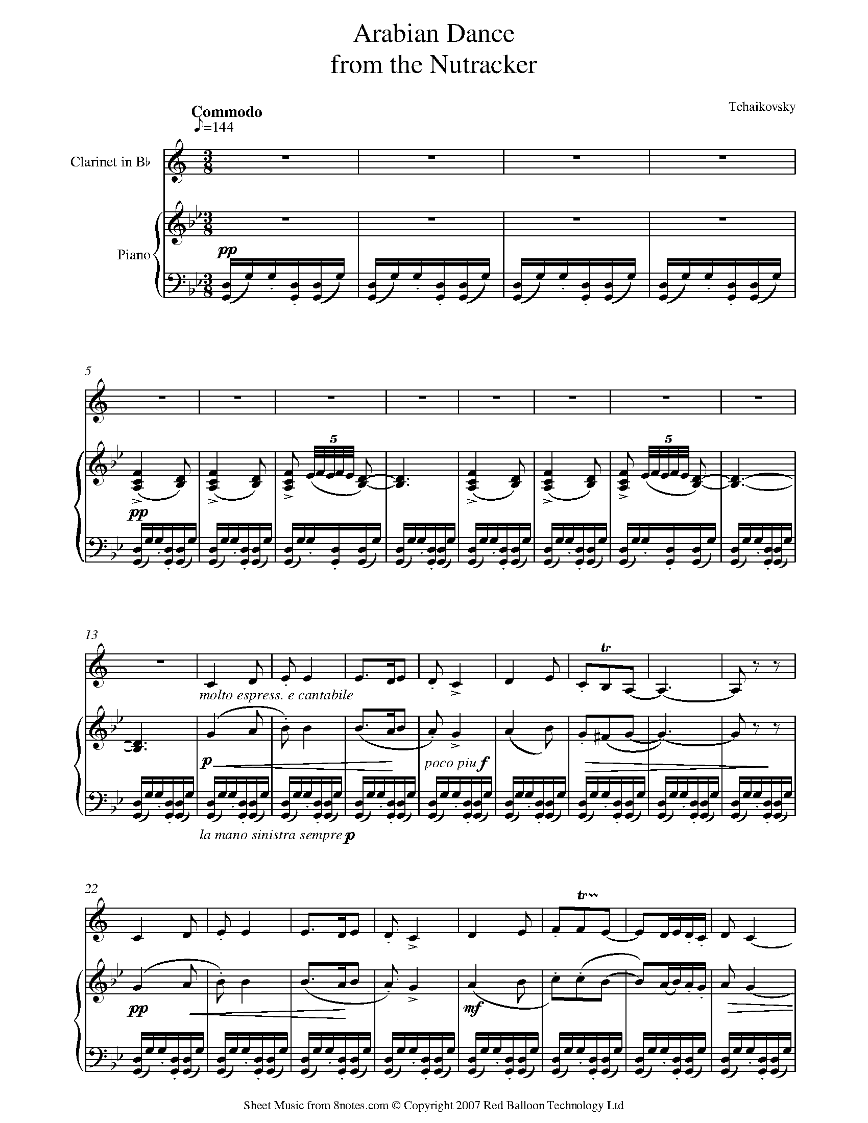 tchaikovsky - arabian dance from the nutcracker sheet music for clarinet -  8notes.com  8notes