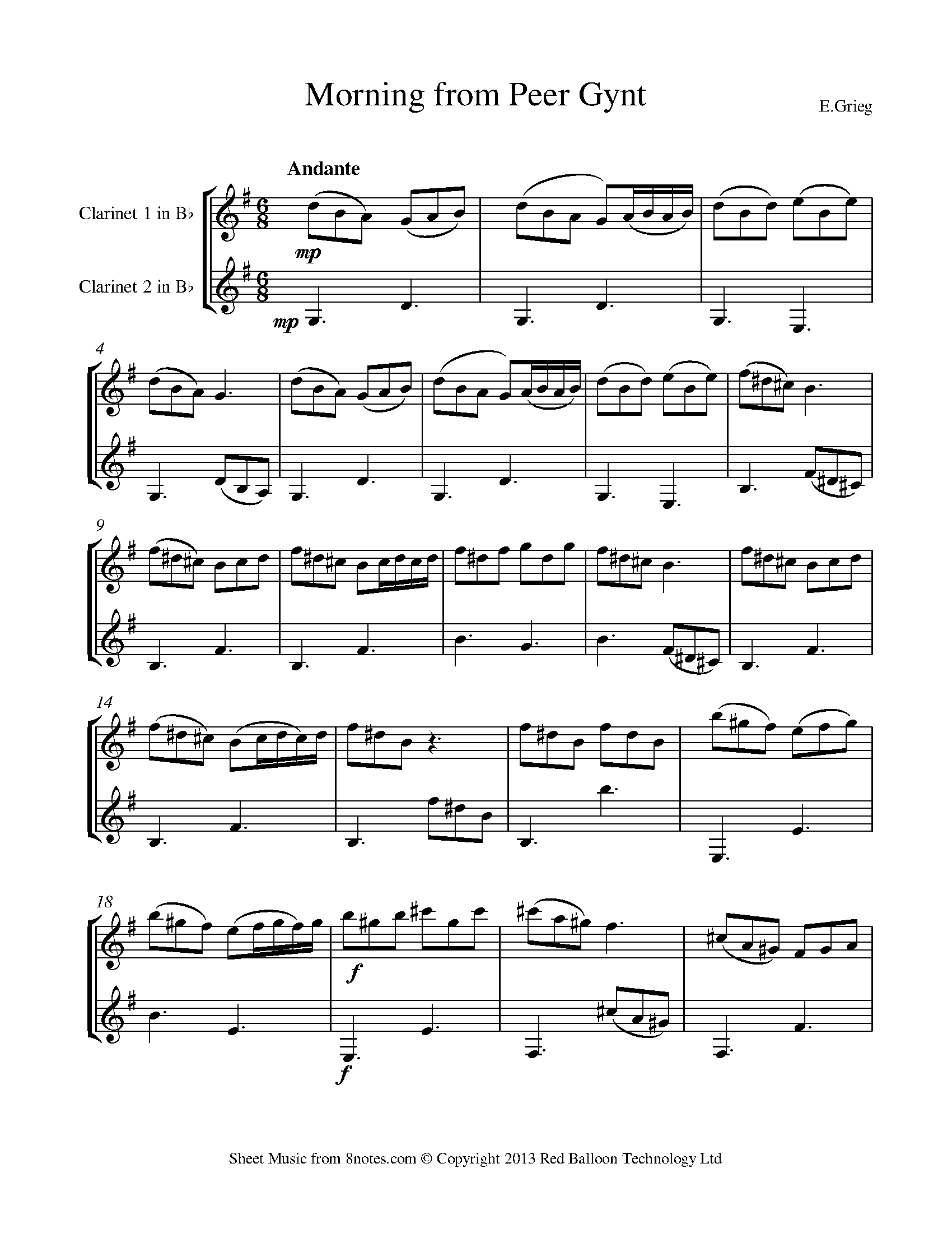 Grieg Morning From Peer Gynt Morning Mood Sheet Music For Clarinet Duet 8notes Com