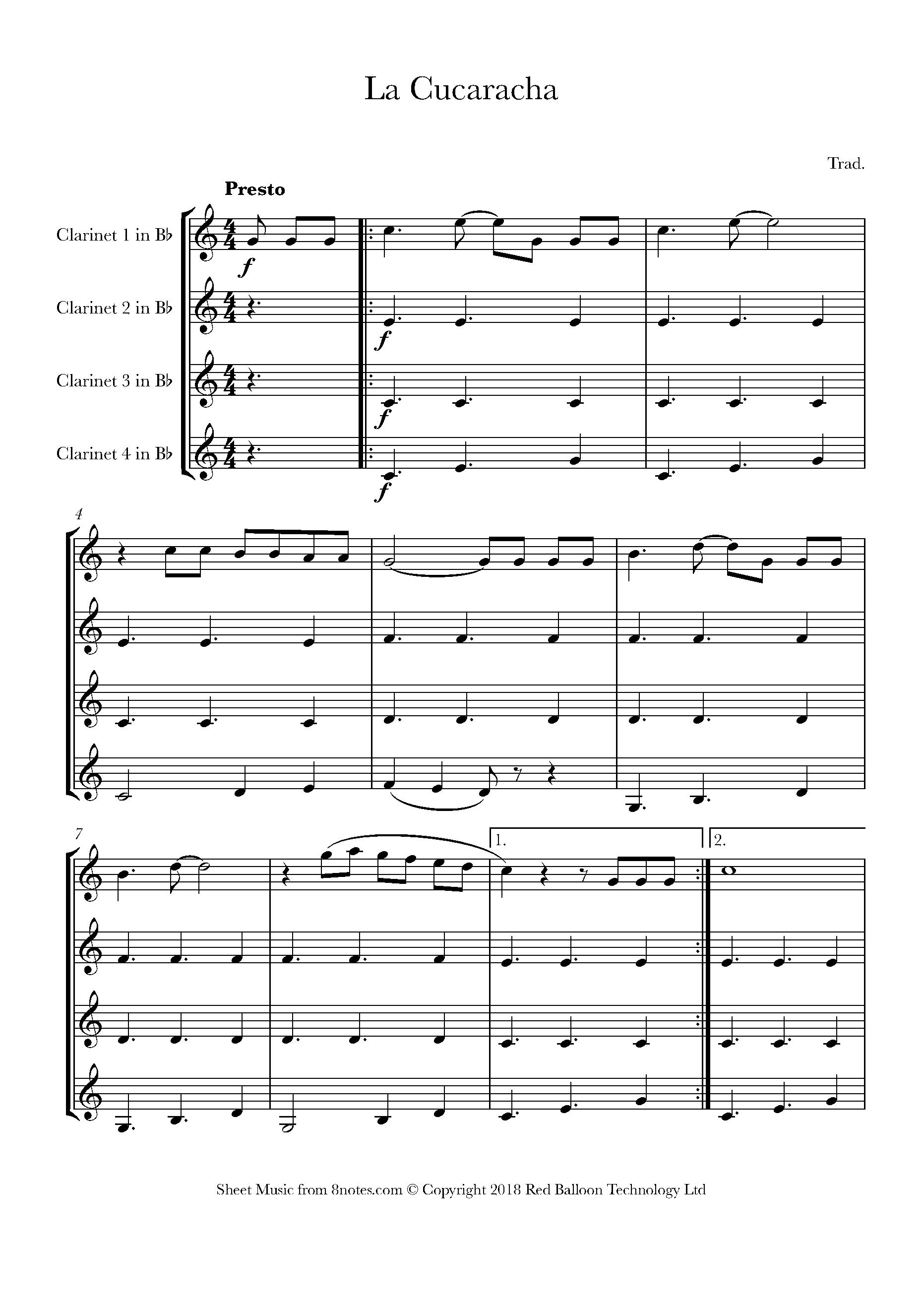 la cucaracha (mexico) sheet music for clarinet quartet - 8notes.com  8notes