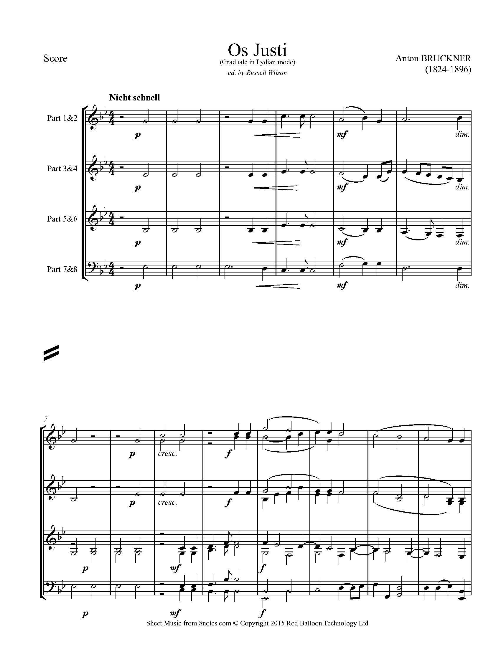 bruckner - os justi (graduale in lydian mode) sheet music for flexible brass  ensemble - 8 players - 8notes.com  8notes