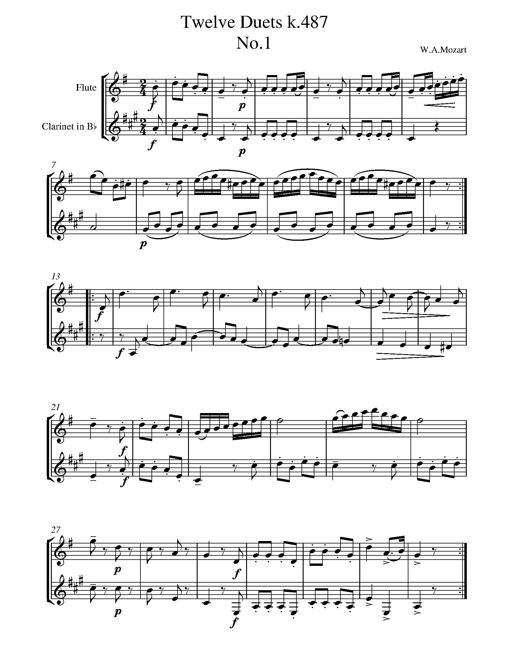 mozart - twelve duets k.487 no.1 sheet music for flute-clarinet duet -  8notes.com  8notes