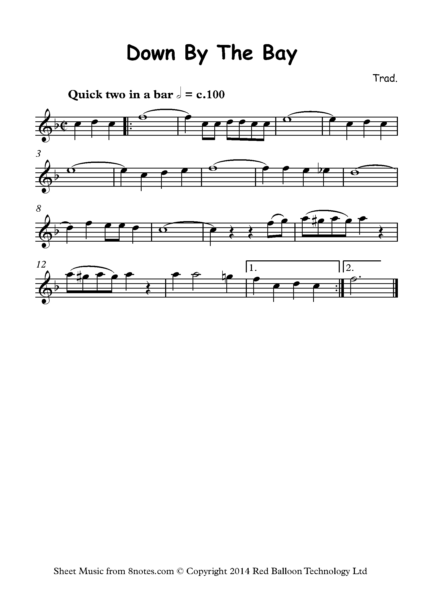 down by the bay sheet music for flute - 8notes.com  8notes