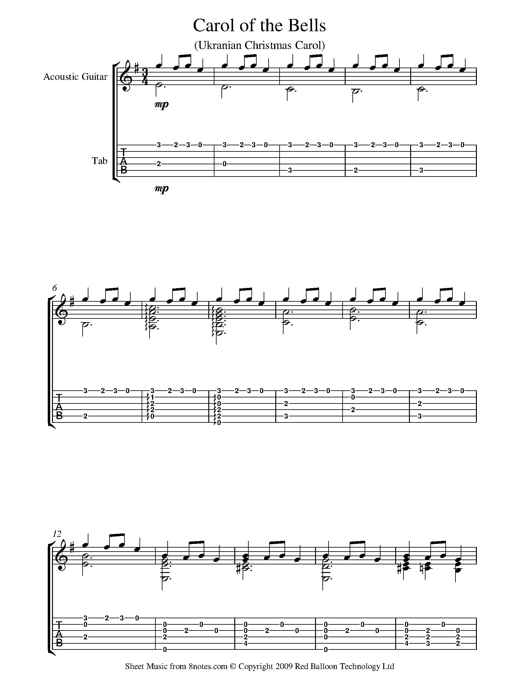 Carol of the bells Sheet music for Guitar   15notes.com