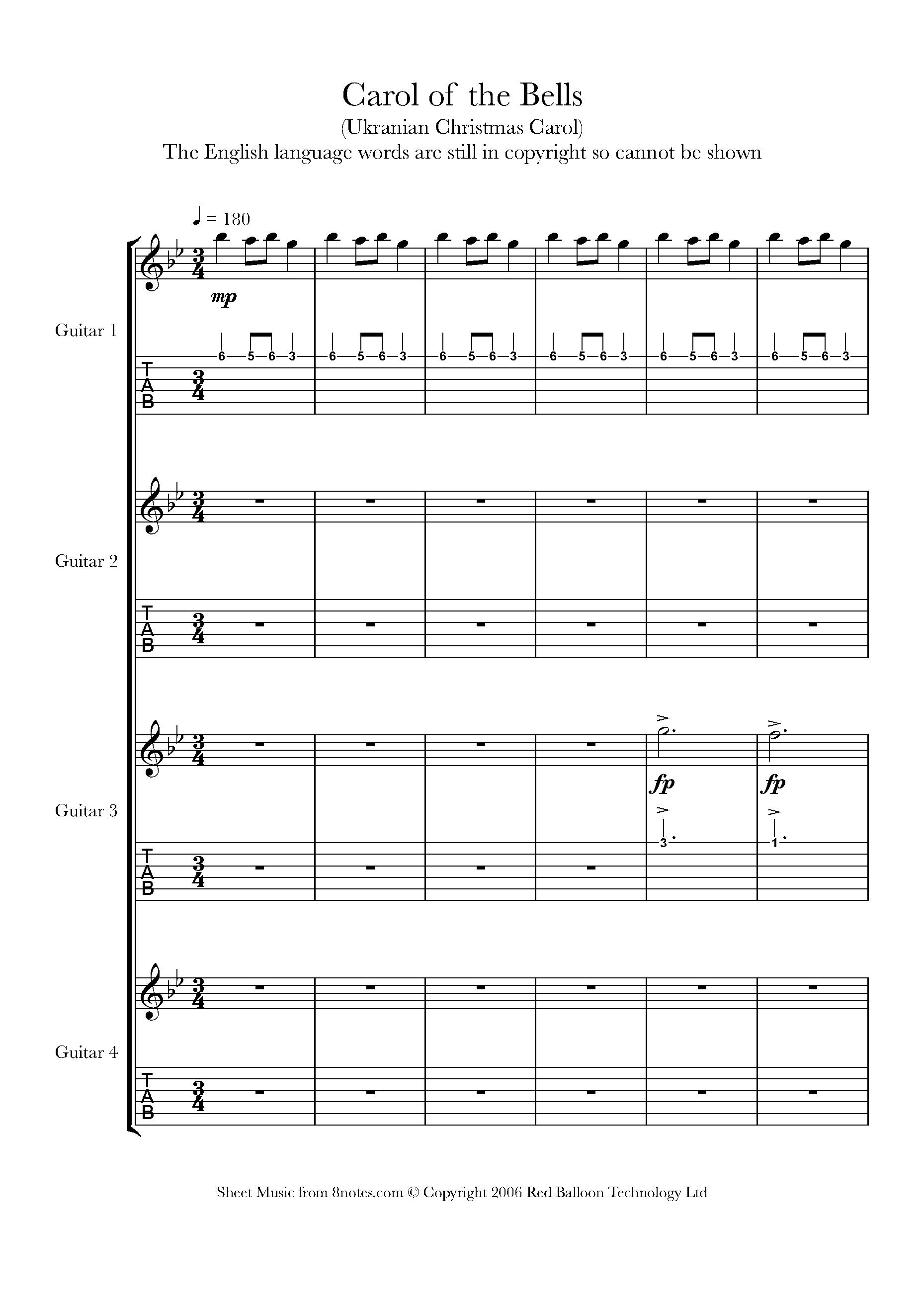 Carol of the Bells Sheet music for Guitar Ensemble   15notes.com