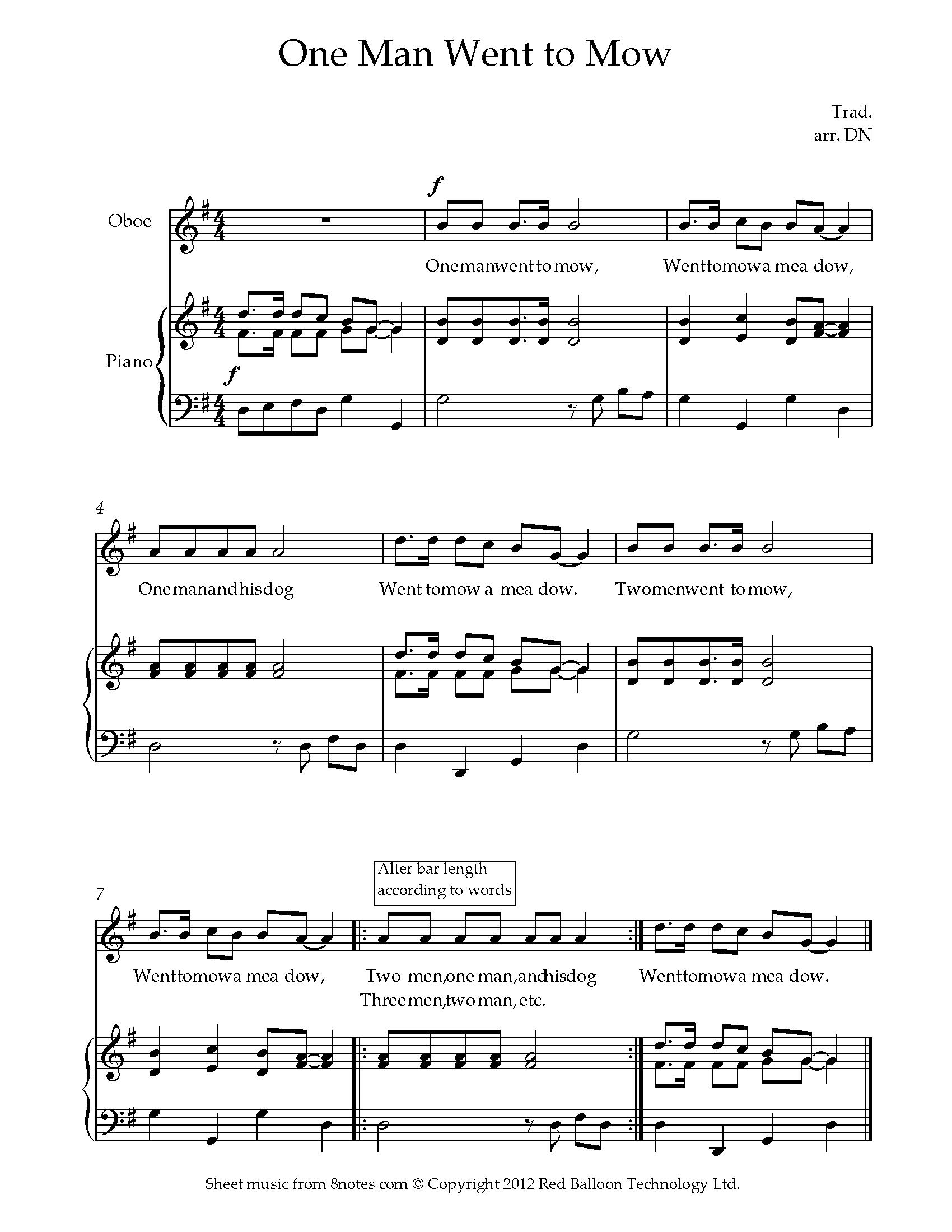 one man went to mow sheet music for oboe - 8notes.com  8notes