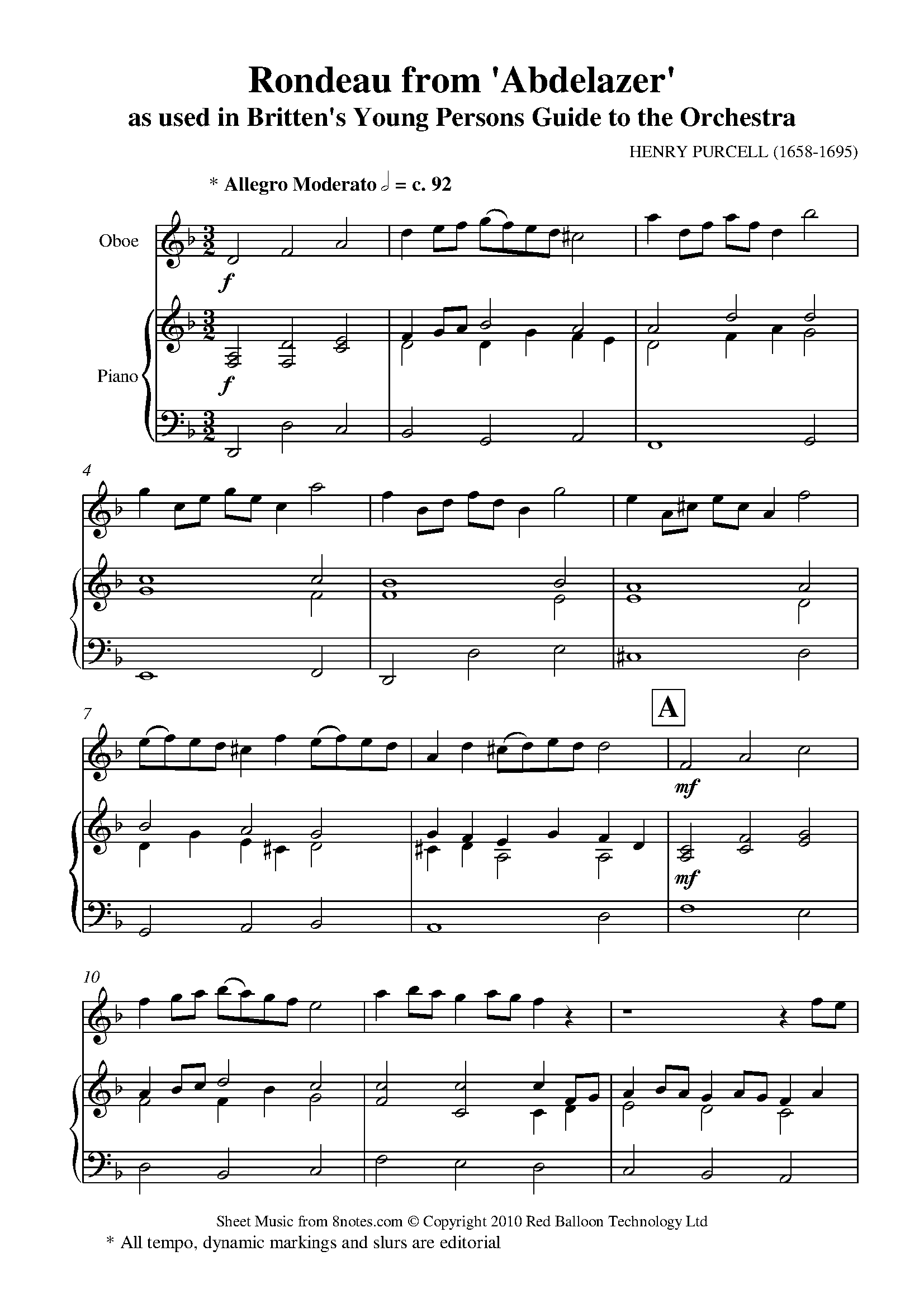 britten - young persons guide to the orchestra theme (purcells rondeau) sheet  music for oboe - 8notes.com  8notes