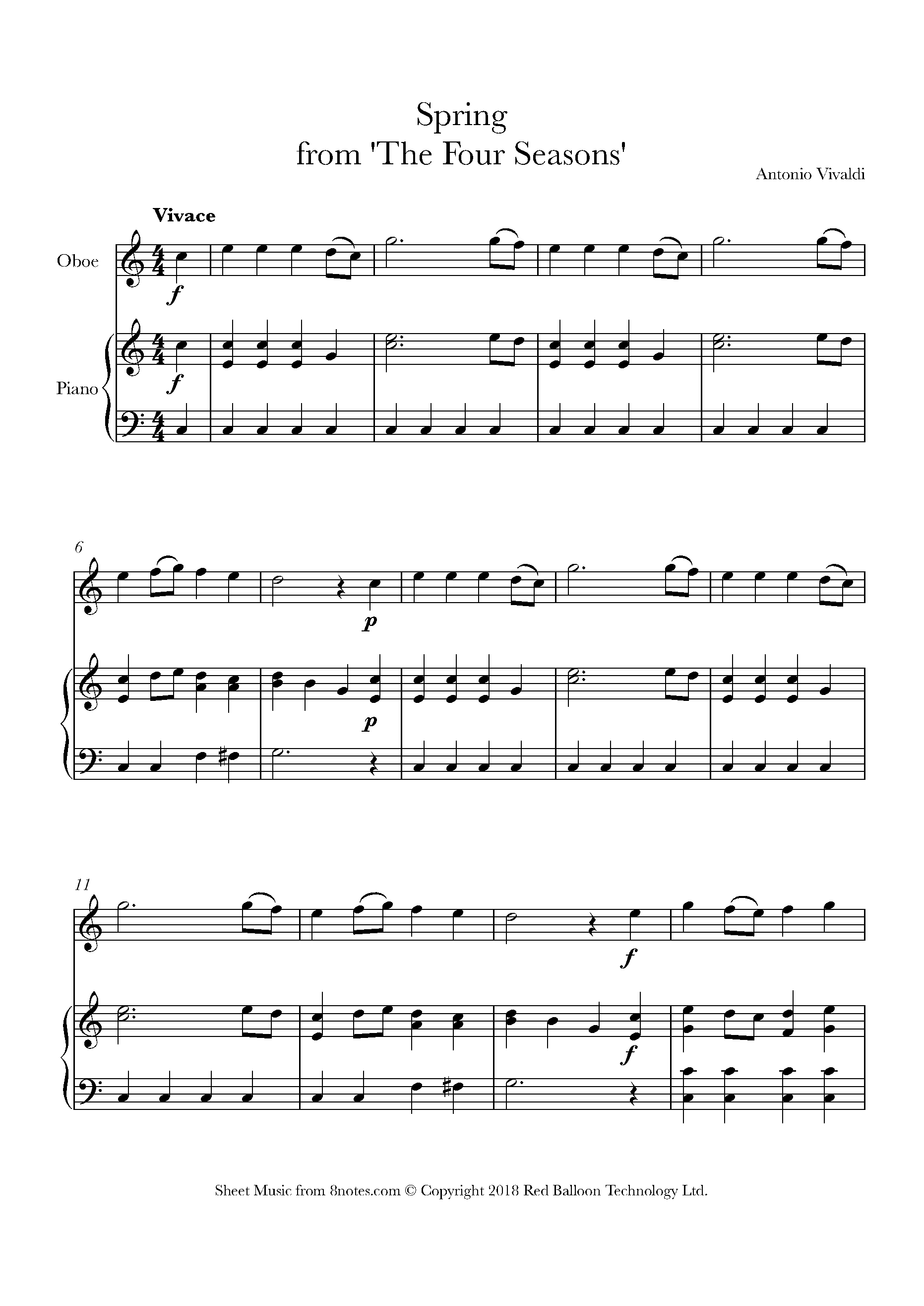 vivaldi - spring from 'the four seasons' sheet music for oboe - 8notes.com  8notes