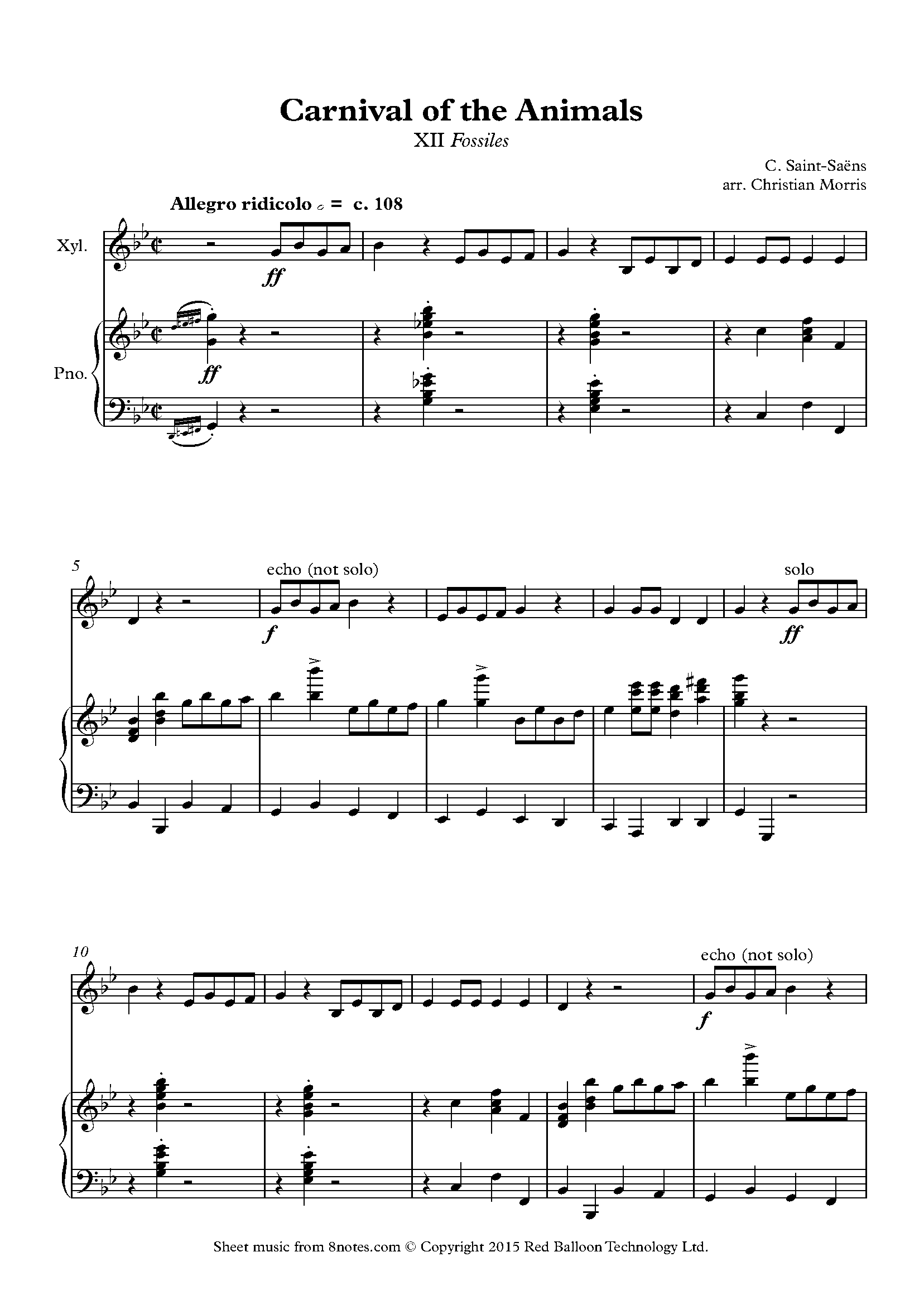 saint-saëns - xii fossiles from carnival of the animals (xylophone) sheet  music for percussion - 8notes.com  8notes