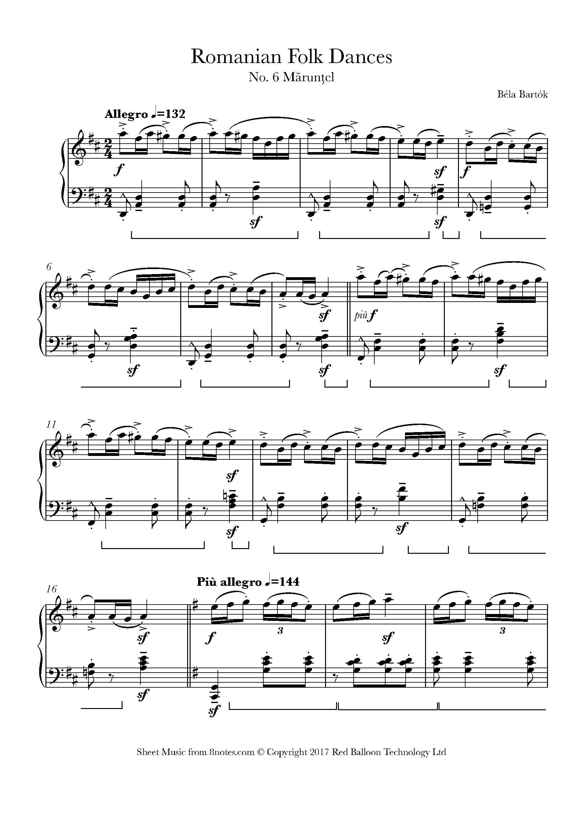 Bartók - Romanian Folk Dance No 6 Mărunțel sheet music for Piano