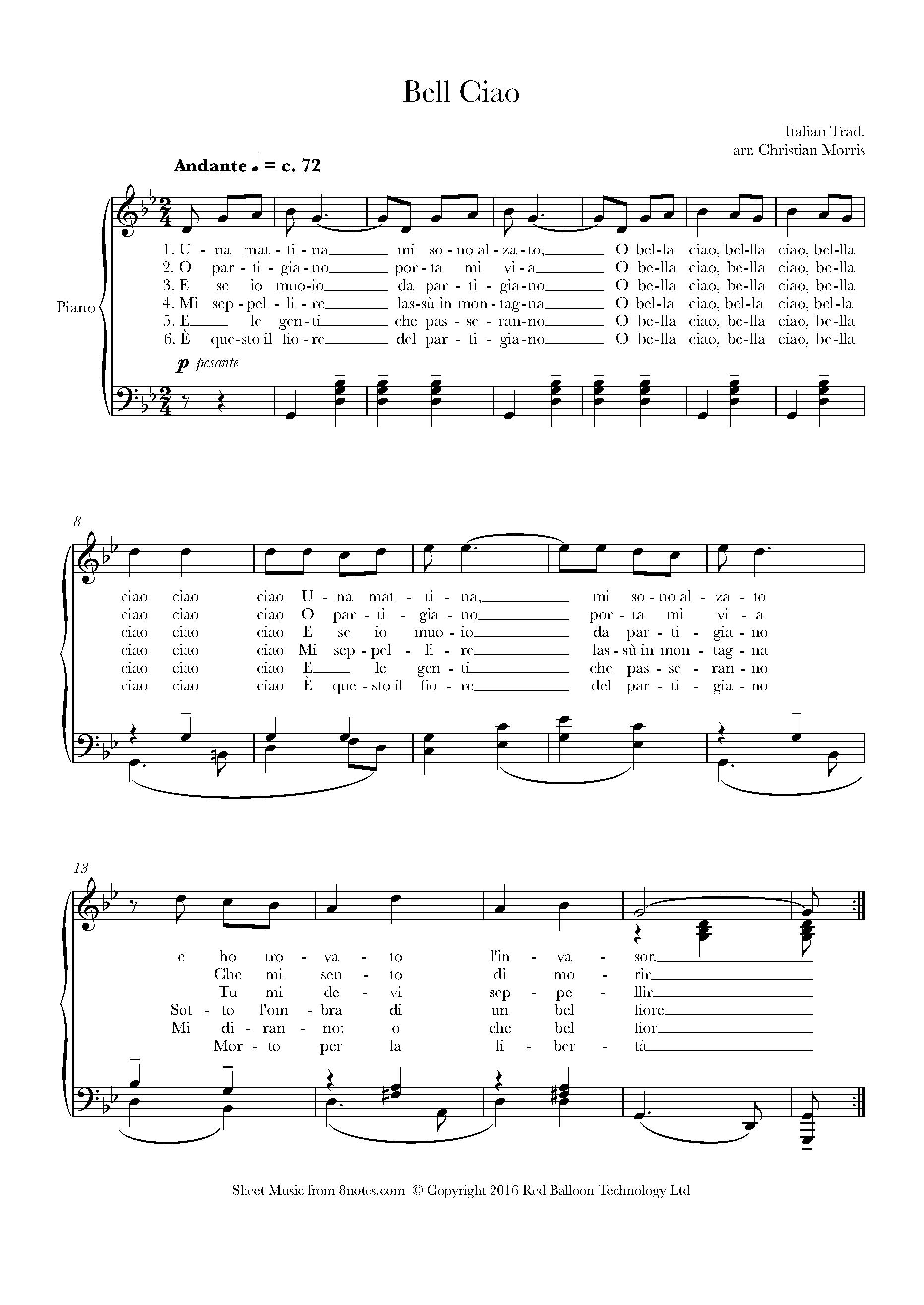 Bella Ciao Sheet Music For Piano 8notes Com