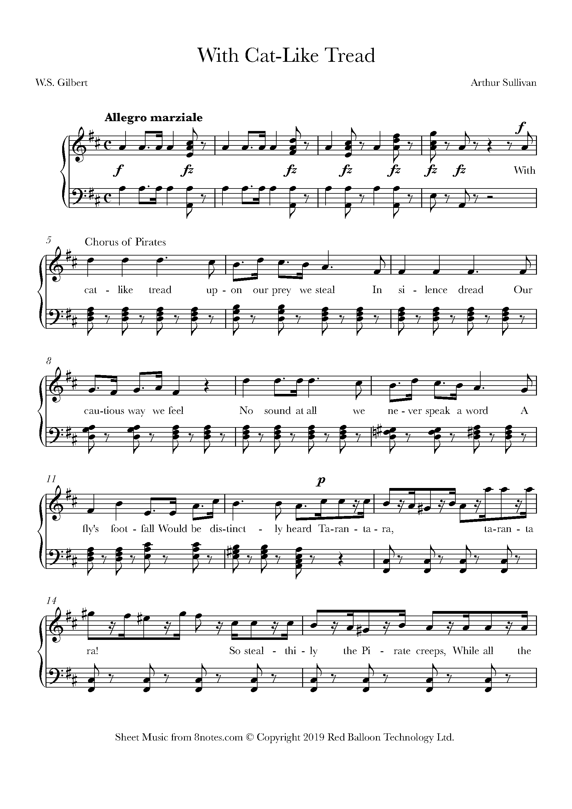 sullivan - with cat-like tread from the pirates of penzance sheet music for  piano - 8notes.com  8notes