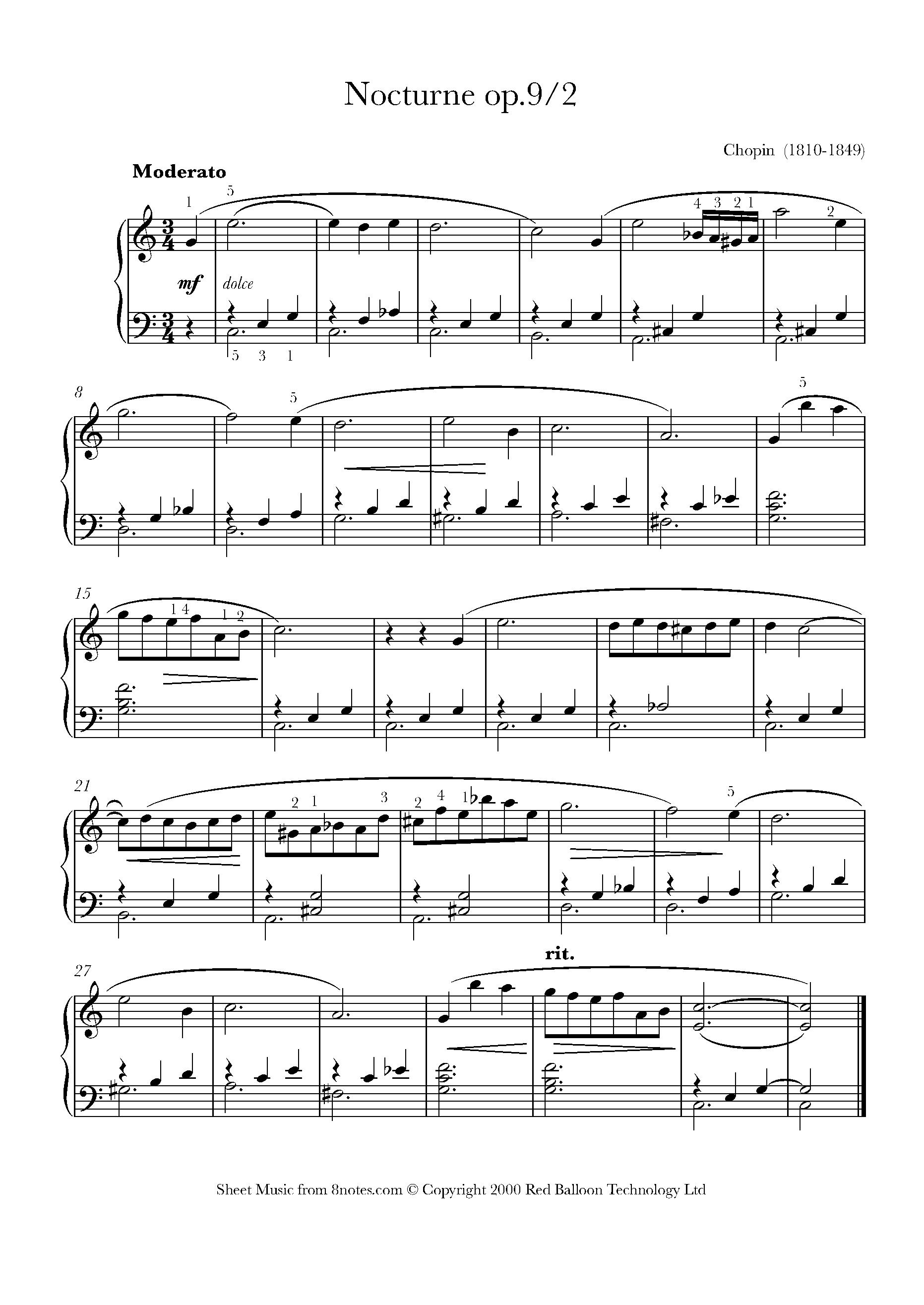 5 Popular Easy Arrangements of Chopin Piano Pieces - 8notes com