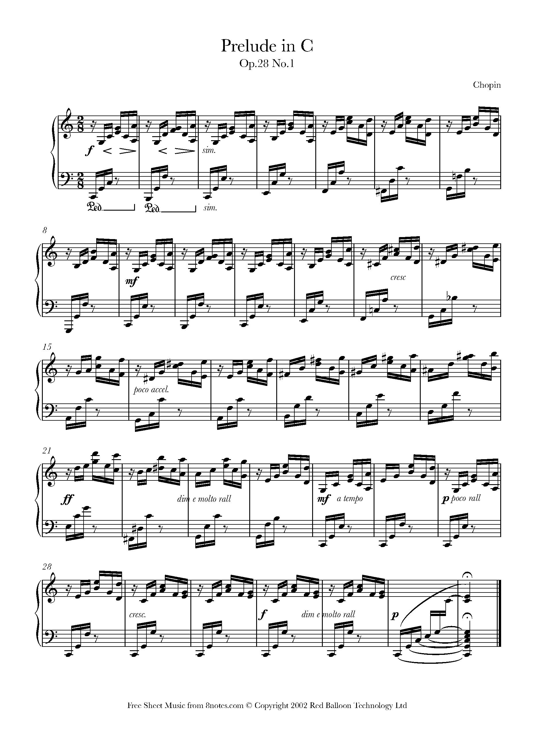 Chopin - Prelude in C Op 28 No 1 sheet music for Piano