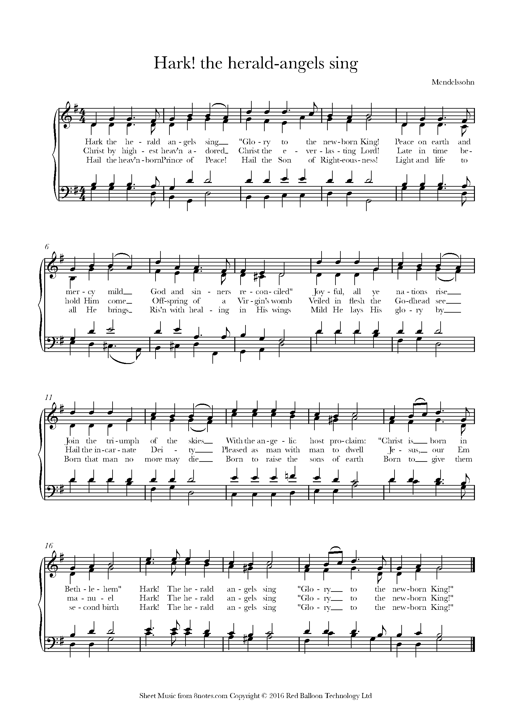 hark! the herald angels sing sheet music for piano - 8notes.com  8notes