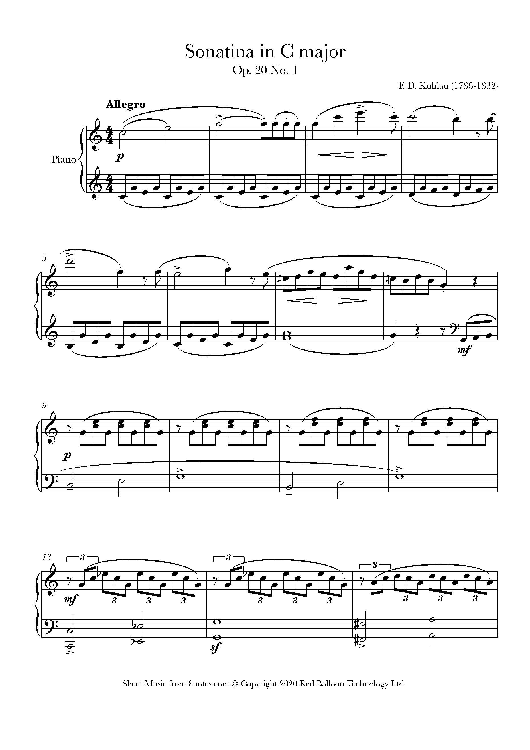 kuhlau - sonatina in c major, op. 20 no. 1 sheet music for piano -  8notes.com  8notes