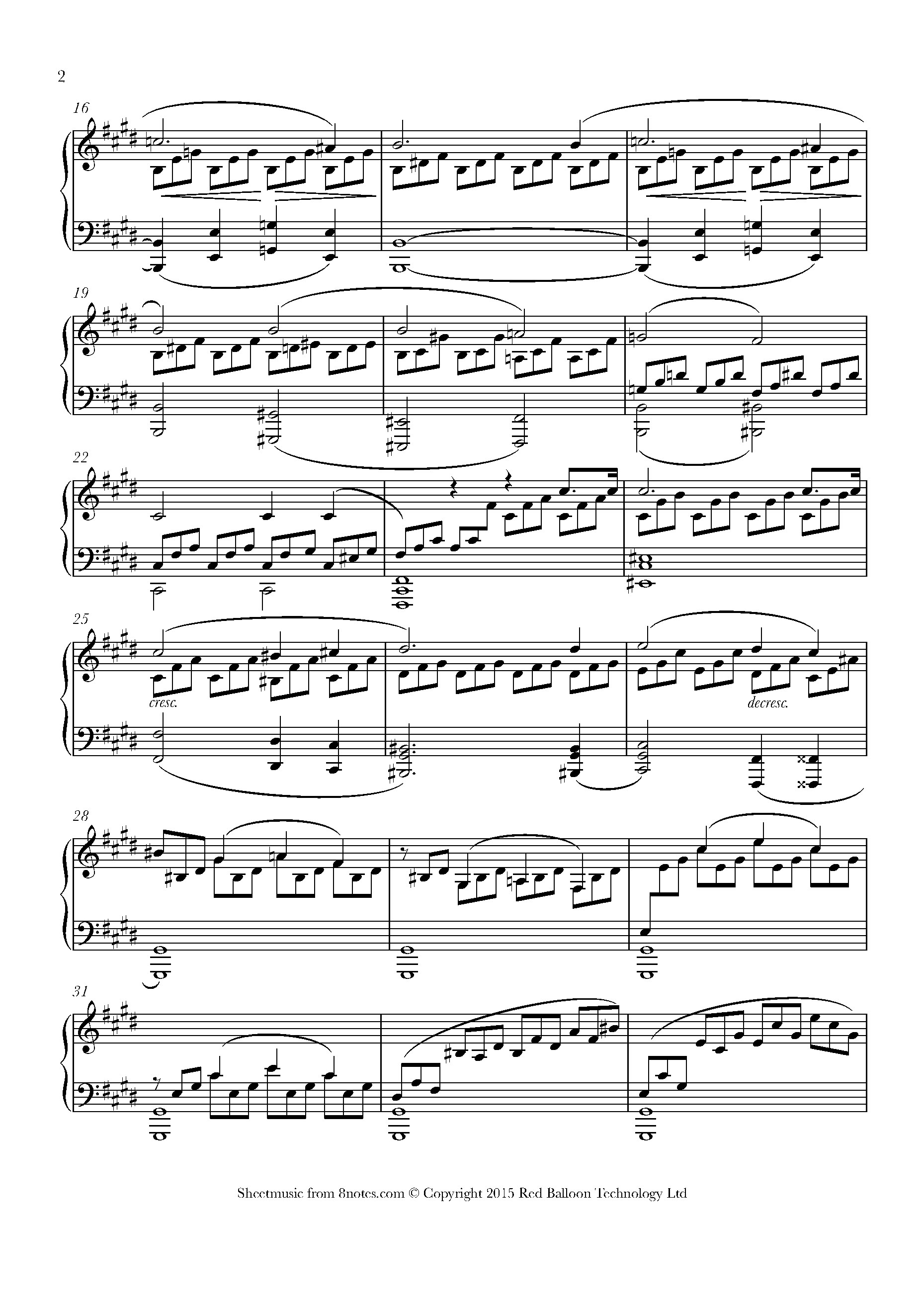 beethoven - moonlight sonata (1st mvt) sheet music for piano - 8notes.com  8notes