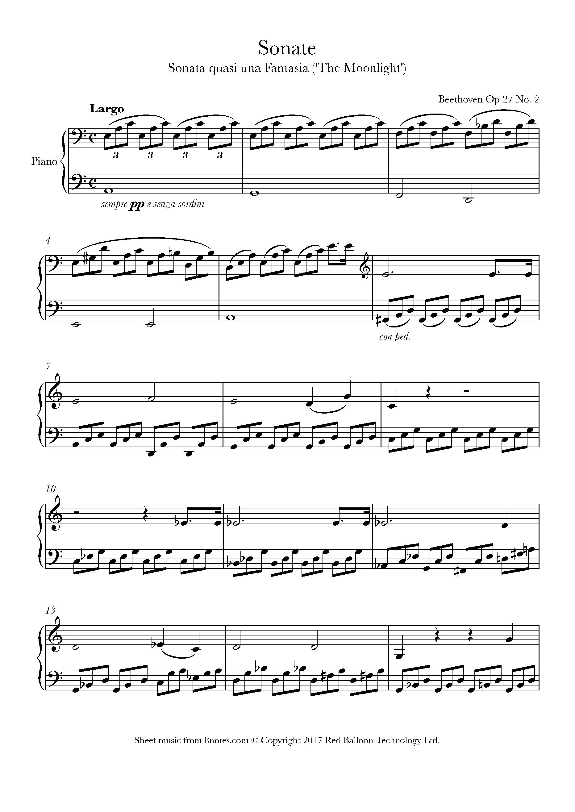 Moonlight Sonata Sheet Music Easy