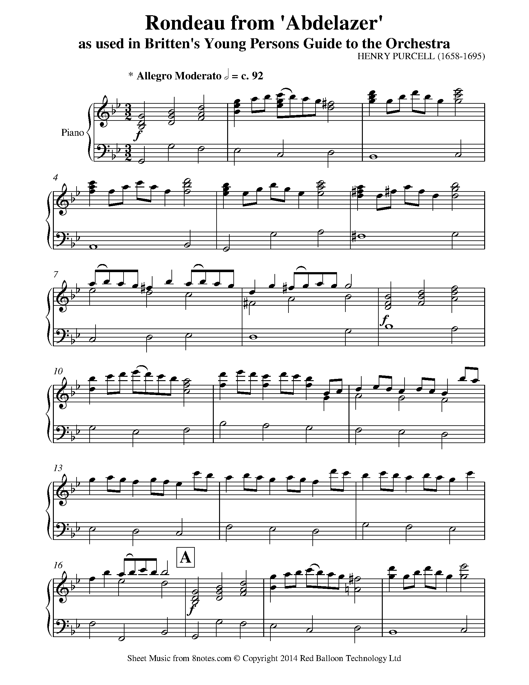 britten - young persons guide to the orchestra theme (purcells rondeau) sheet  music for piano - 8notes.com  8notes