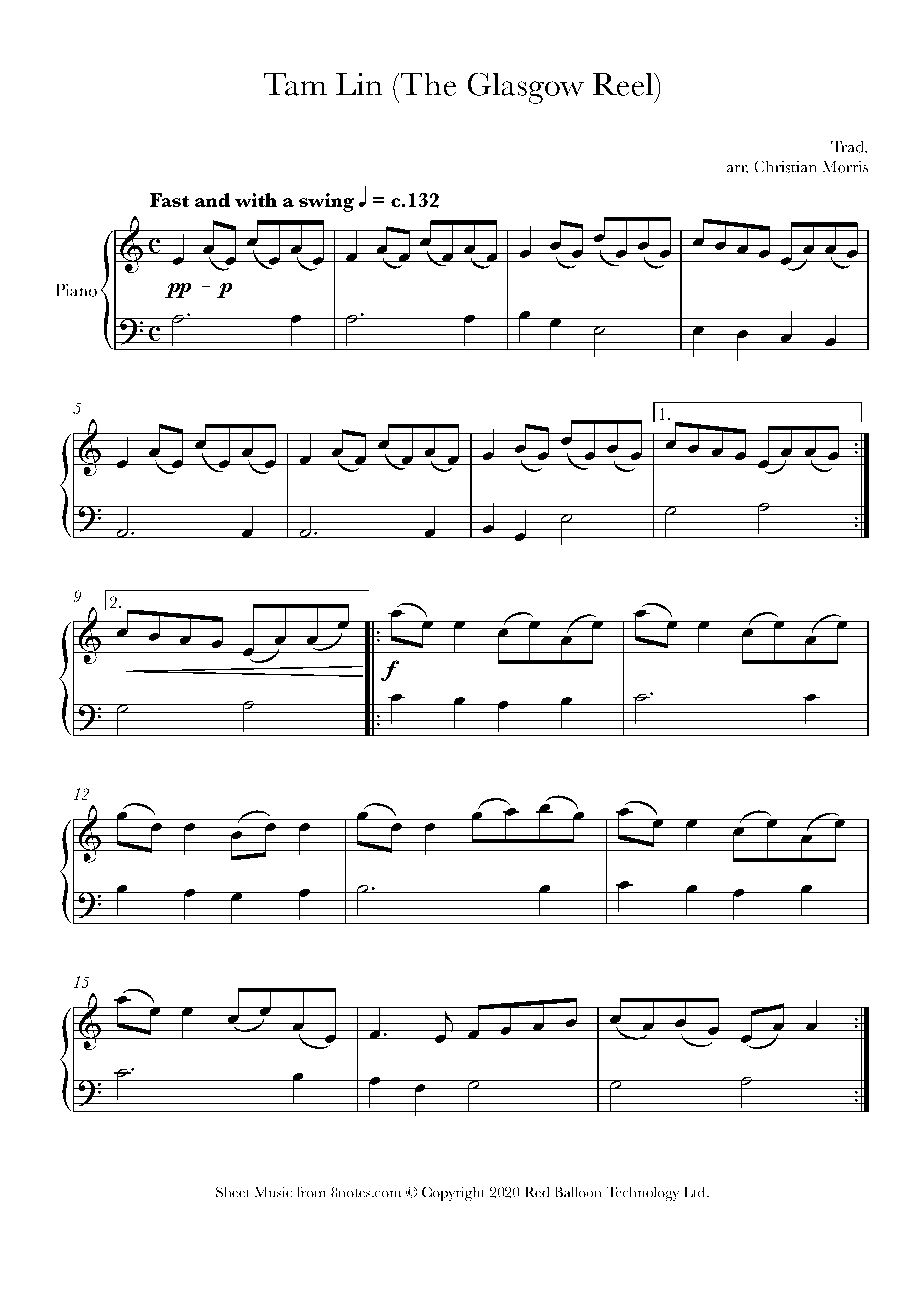 tam lin (the glasgow reel) sheet music for piano - 8notes.com  8notes
