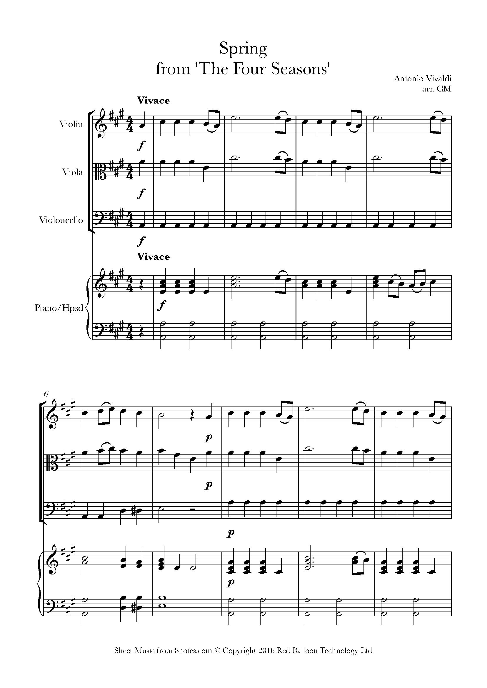 vivaldi - spring from 'the four seasons' sheet music for piano quartet -  8notes.com  8notes