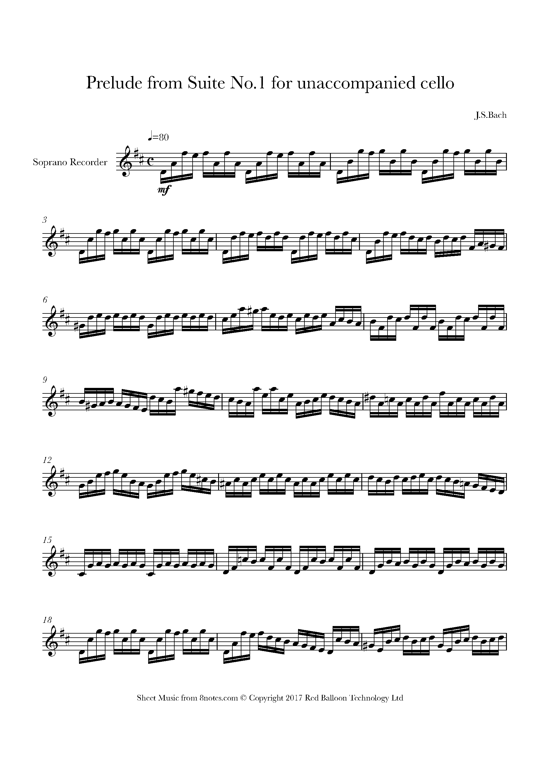 bach - prelude from suite no.1 for unaccompanied cello sheet music for  recorder - 8notes.com  8notes