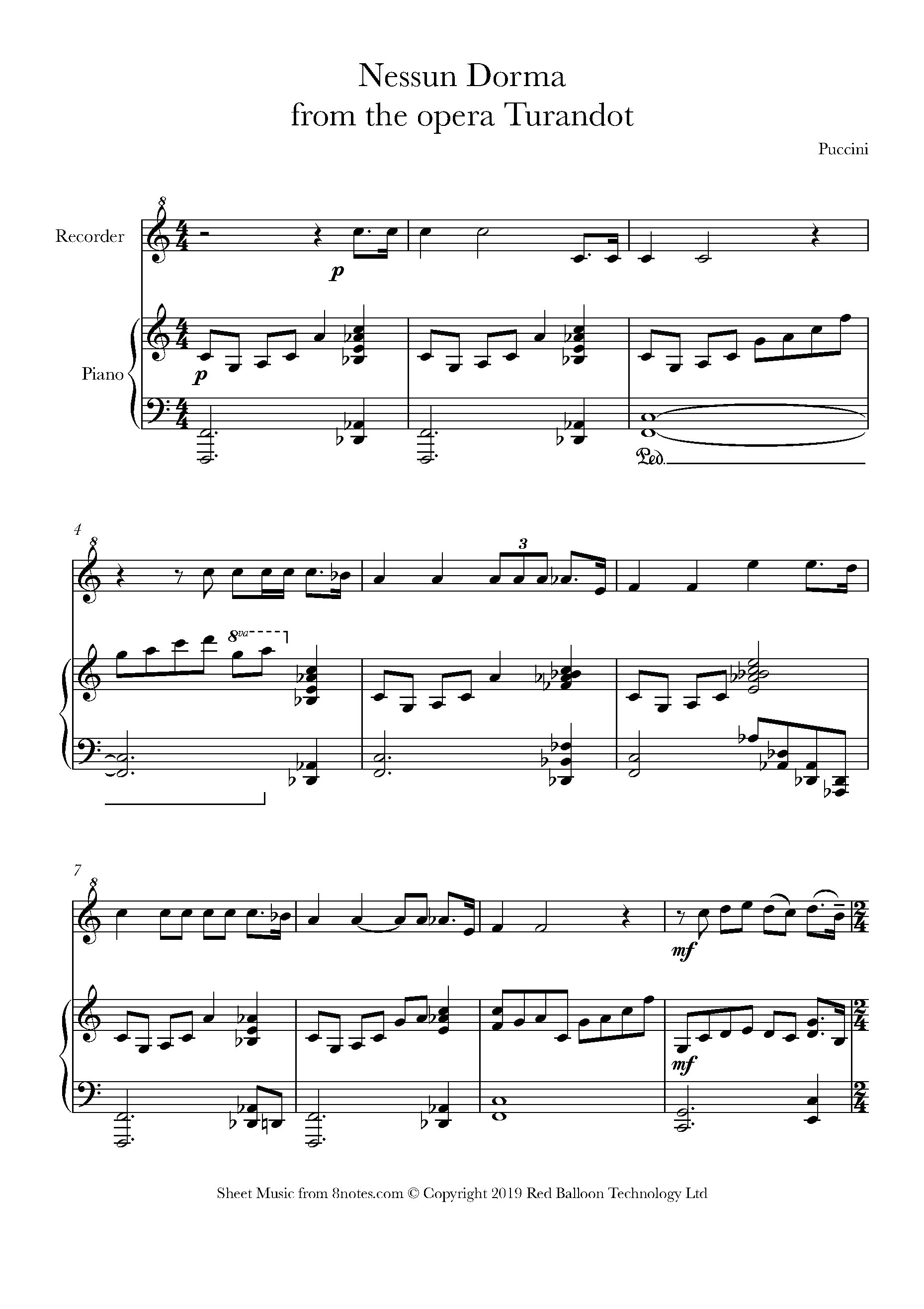 Puccini - Nessun Dorma from Turandot Sheet music for Recorder - 8notes.com