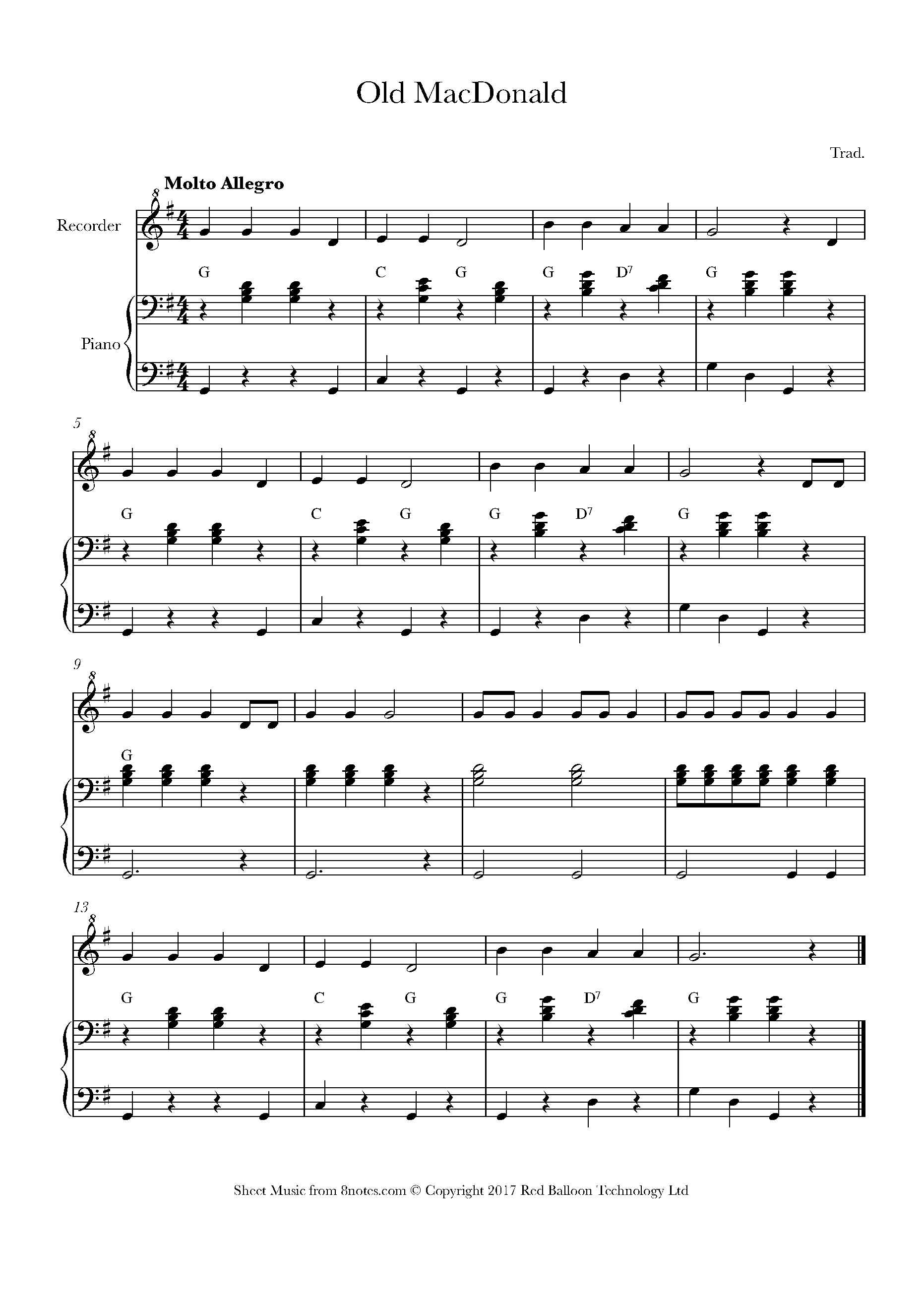 Old MacDonald Sheet music for Recorder   15notes.com