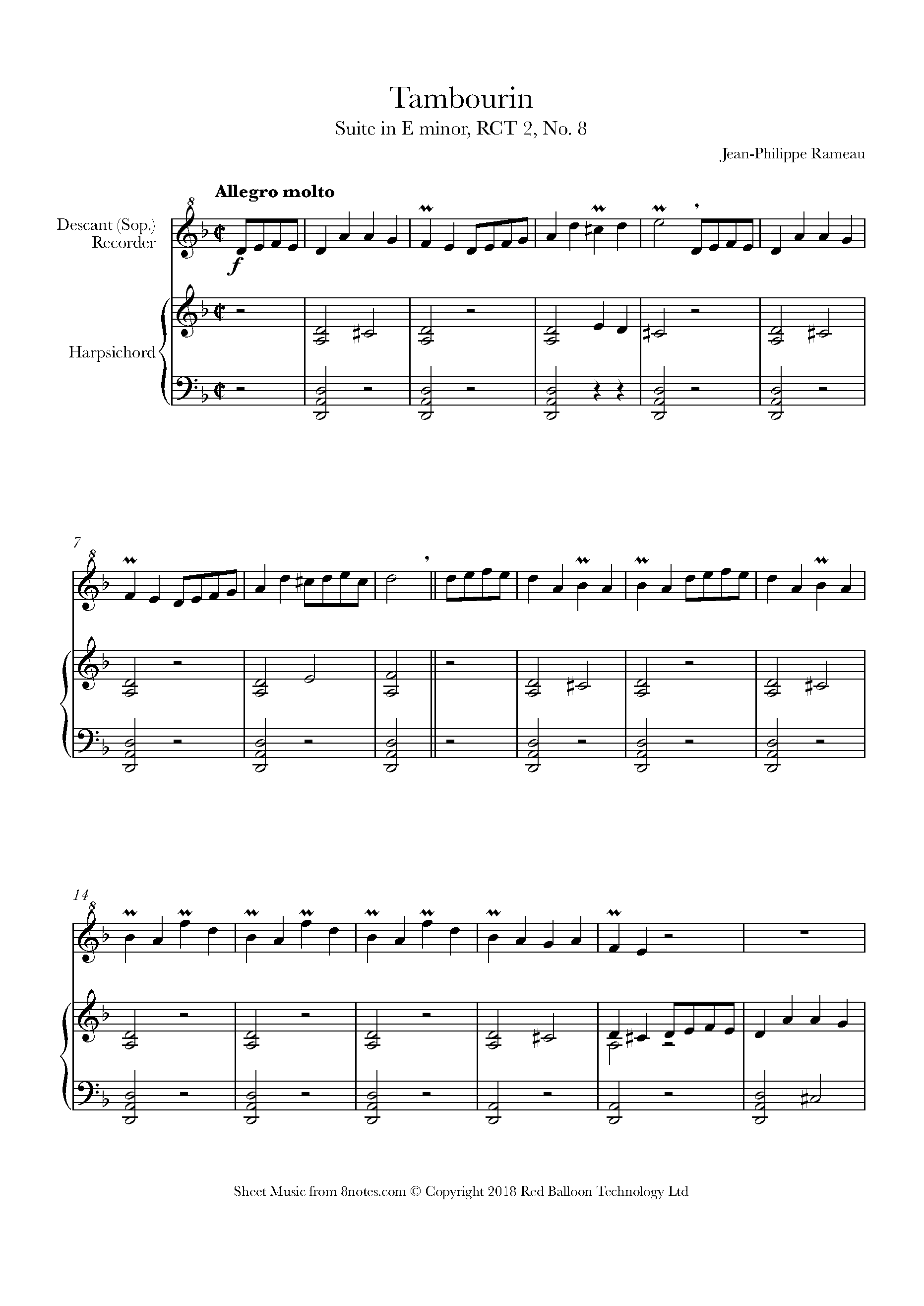 rameau - tambourin suite in e minor, rct 2, no. 8 sheet music for recorder  - 8notes.com  8notes
