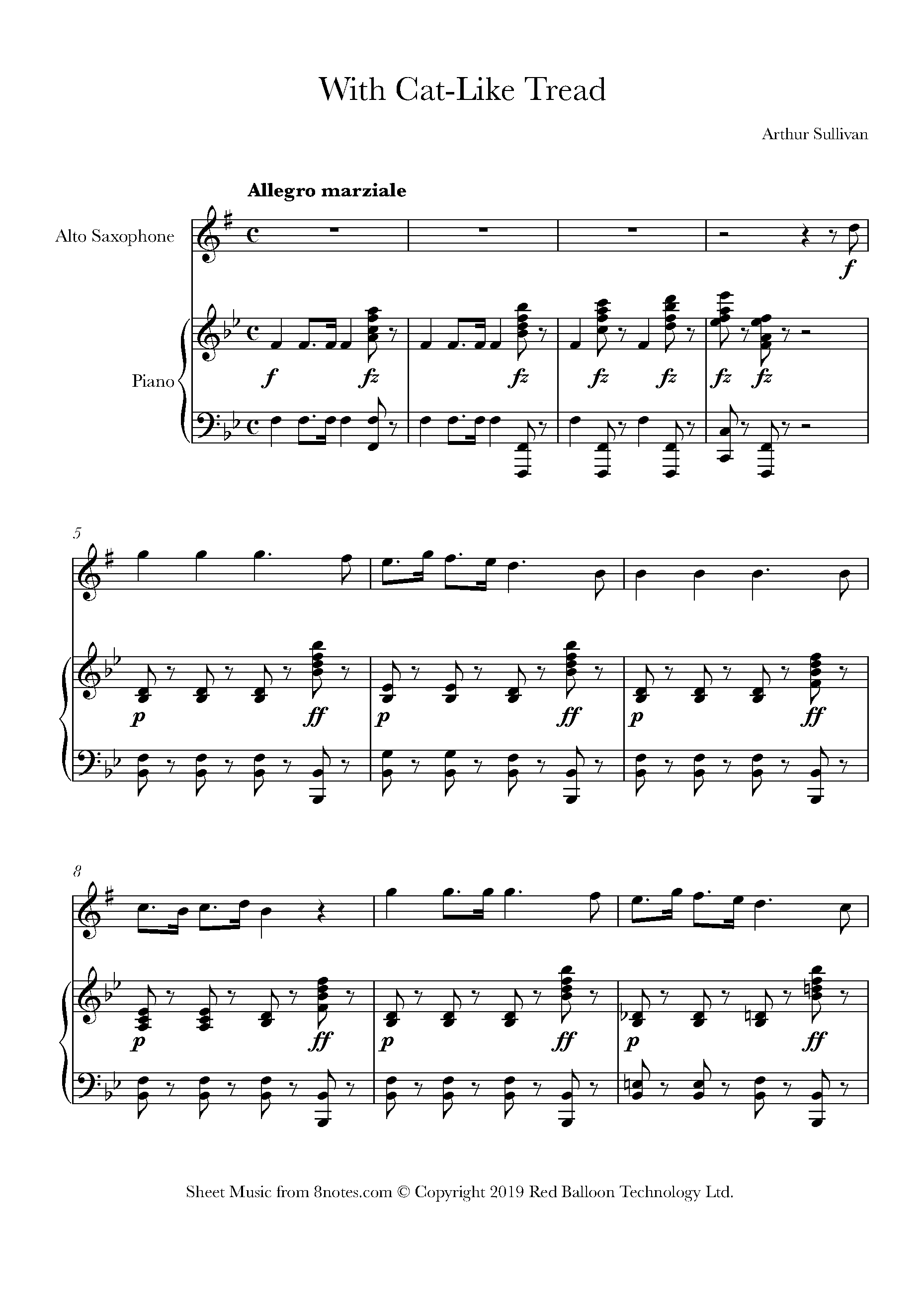 sullivan - with cat-like tread from the pirates of penzance sheet music for  saxophone - 8notes.com  8notes