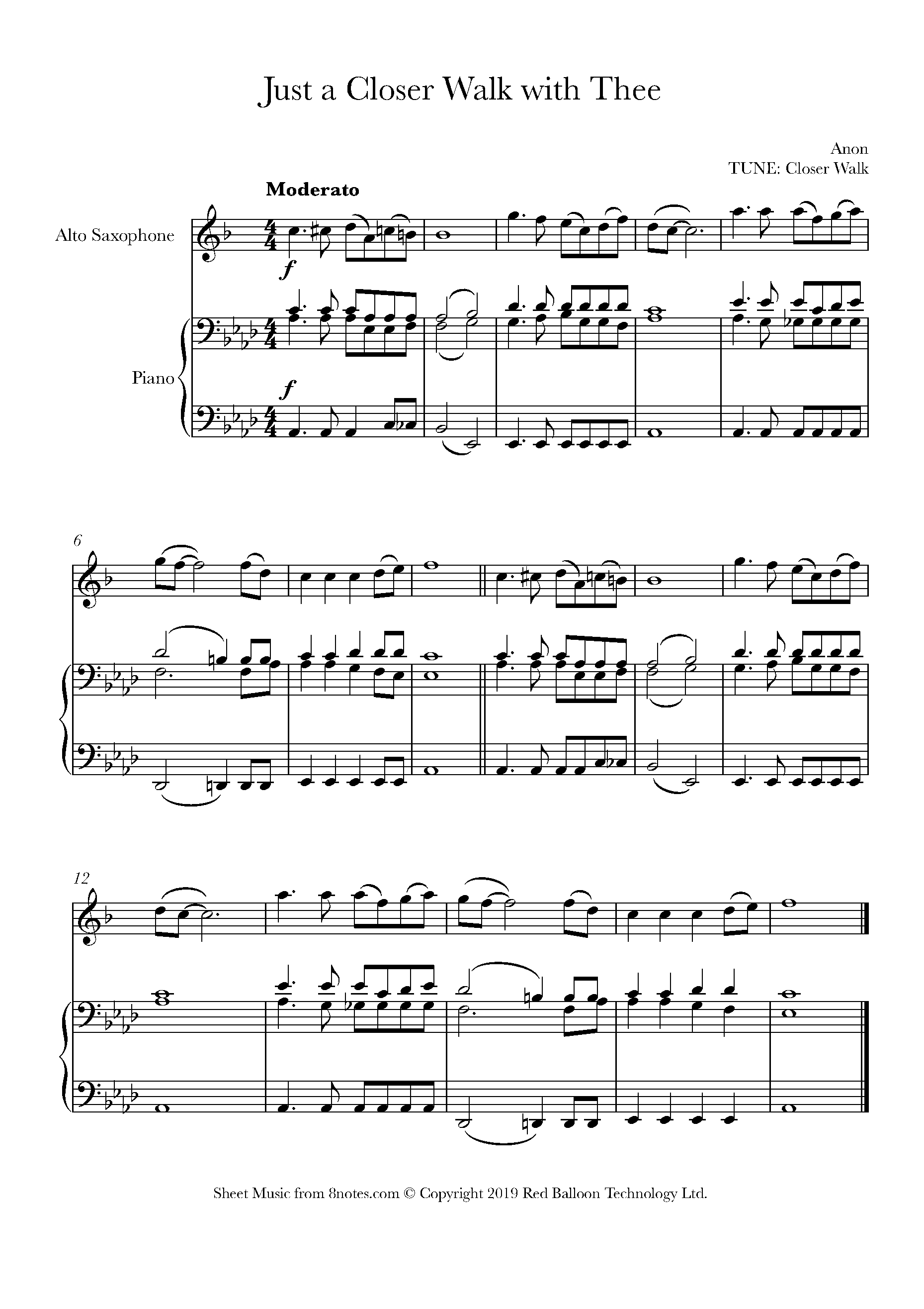 Just A Closer Walk With Thee Sheet music for Saxophone   15notes.com