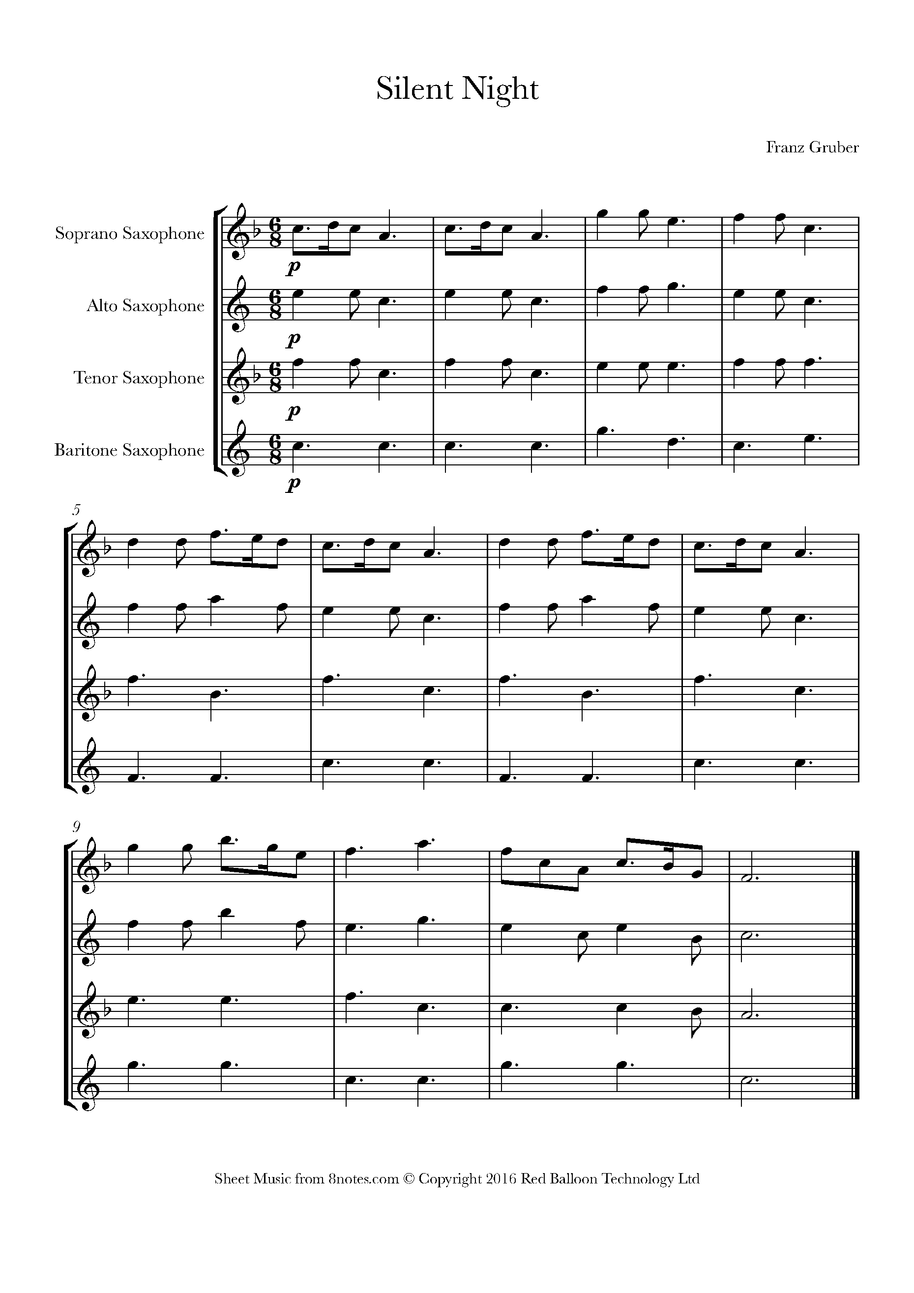 silent night sheet music for saxophone quartet - 8notes.com  8notes