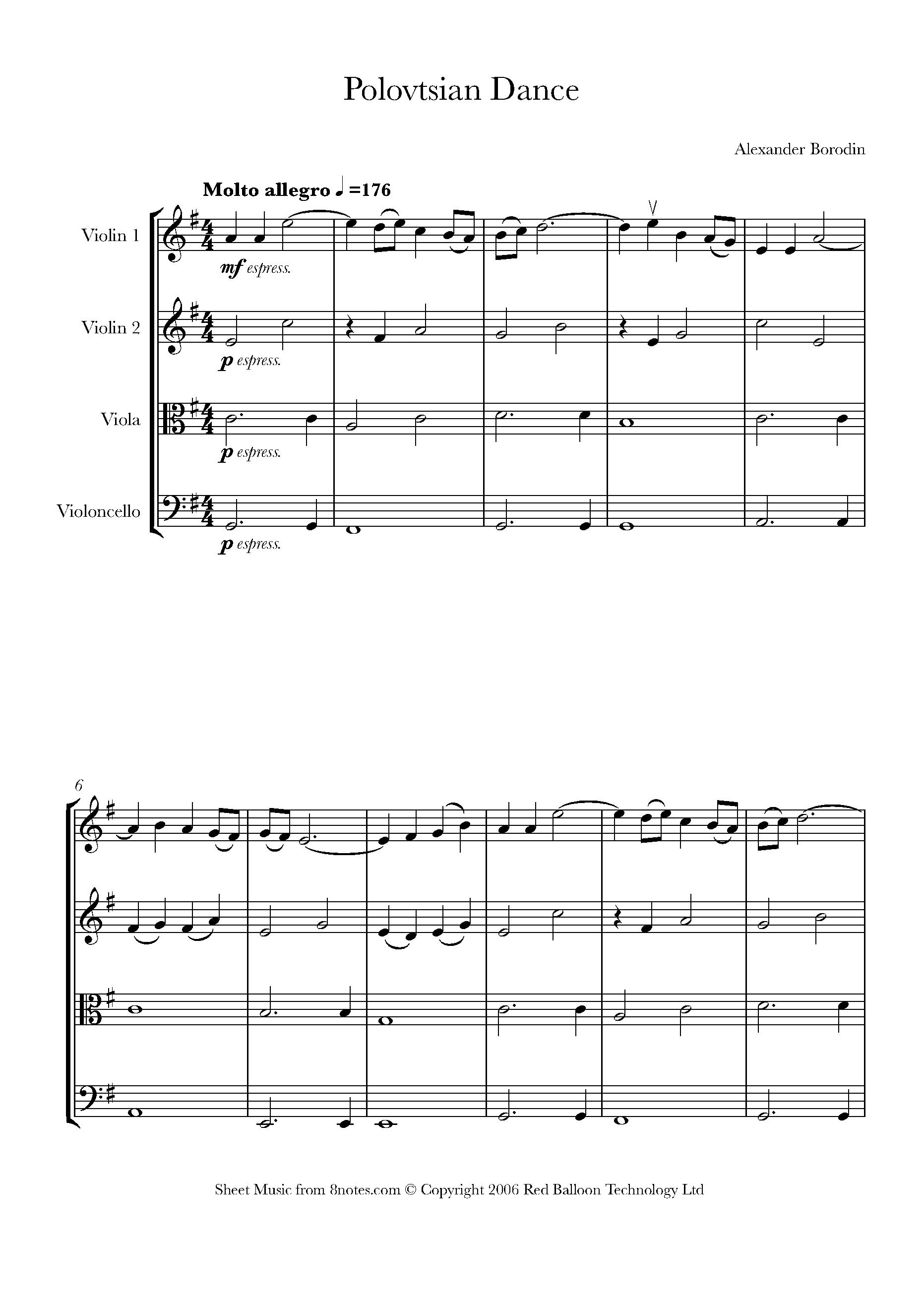 borodin - polovtsian dance sheet music for string quartet - 8notes.com  8notes
