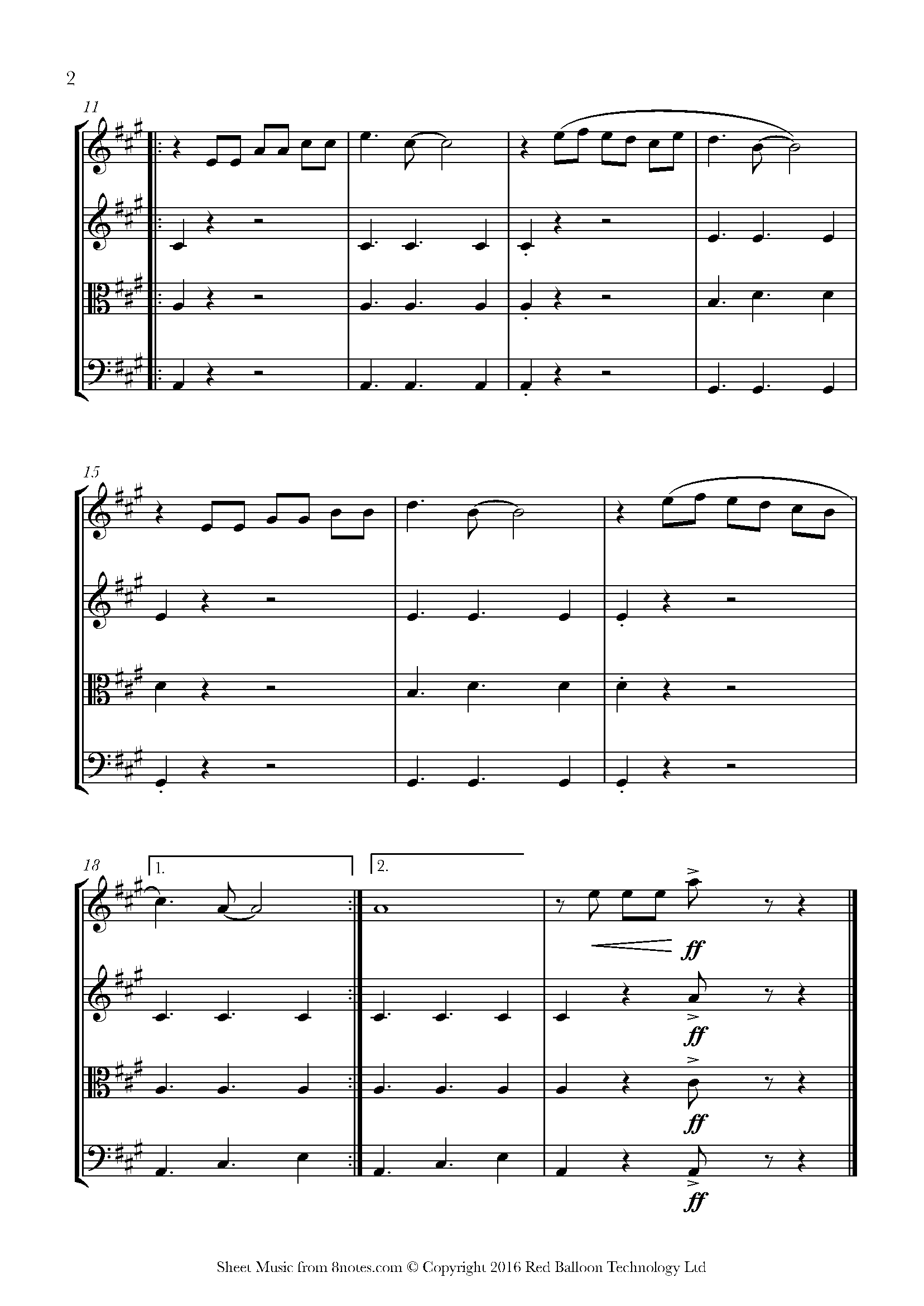 la cucaracha (mexico) sheet music for string quartet - 8notes.com  8notes