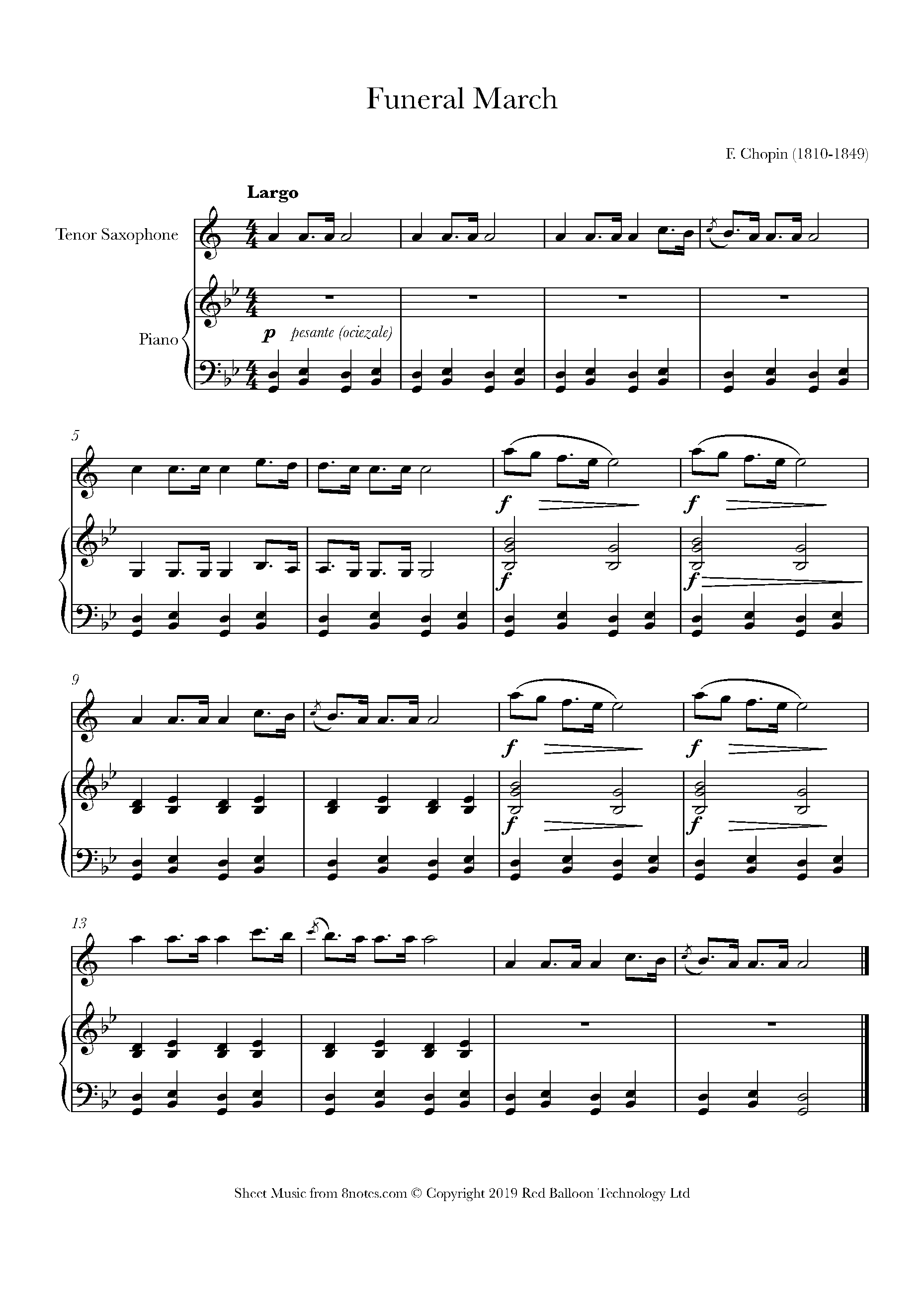 chopin - funeral march sheet music for tenor saxophone - 8notes.com  8notes