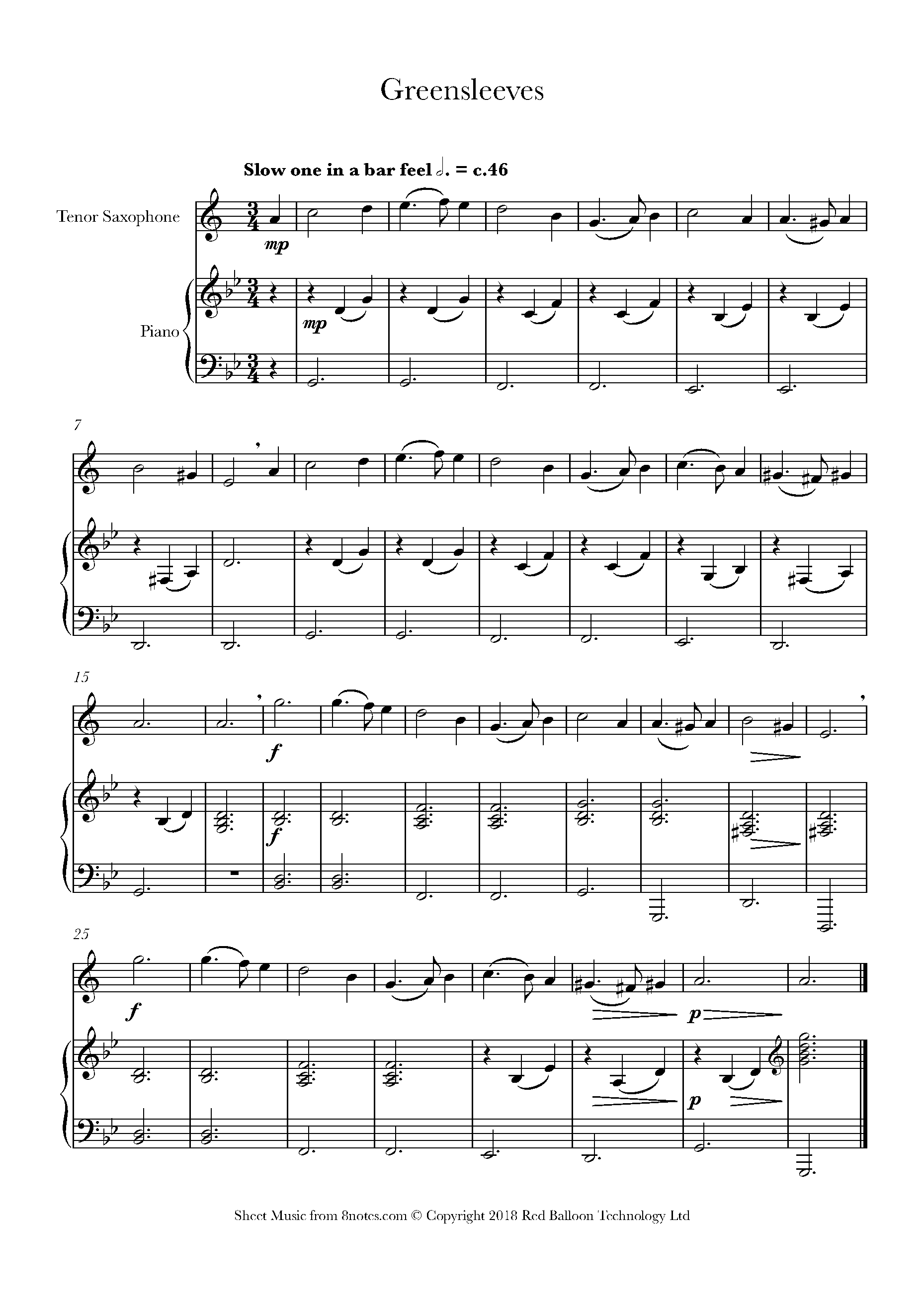 greensleeves sheet music for tenor saxophone - 8notes.com  8notes