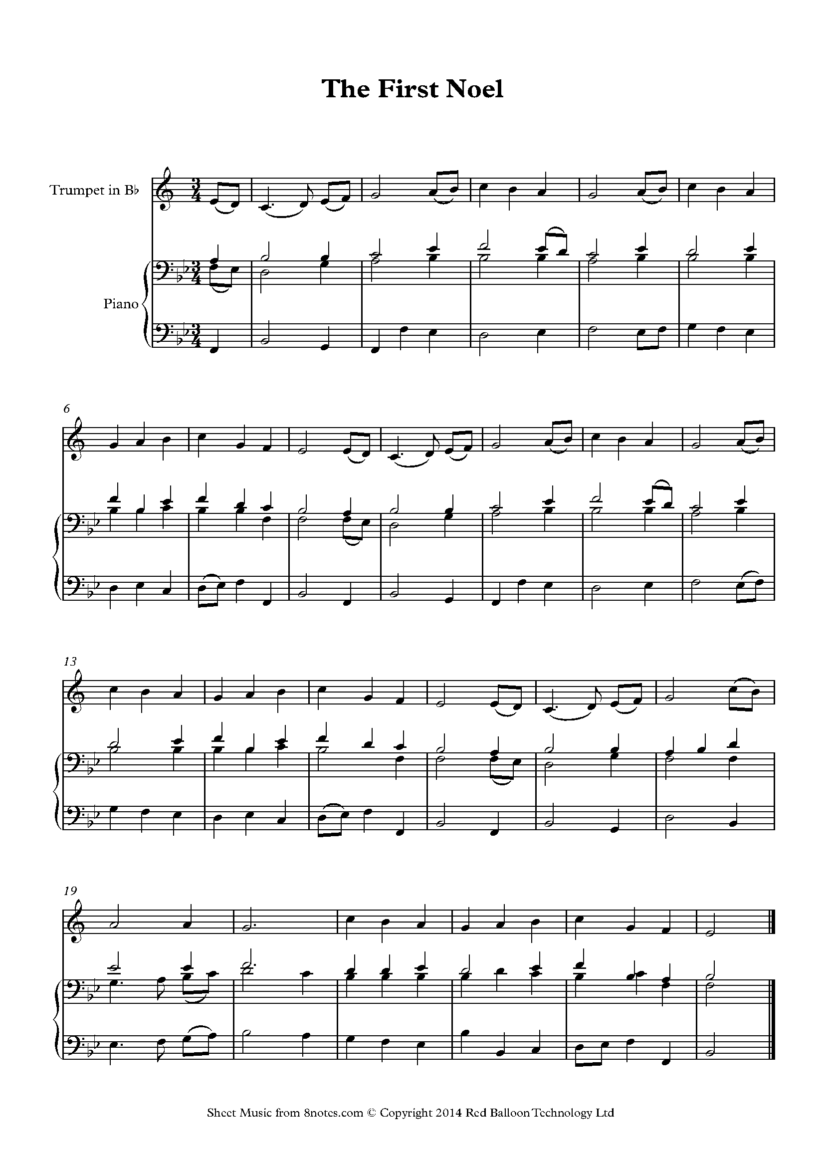 the first noel sheet music for trumpet - 8notes.com  8notes