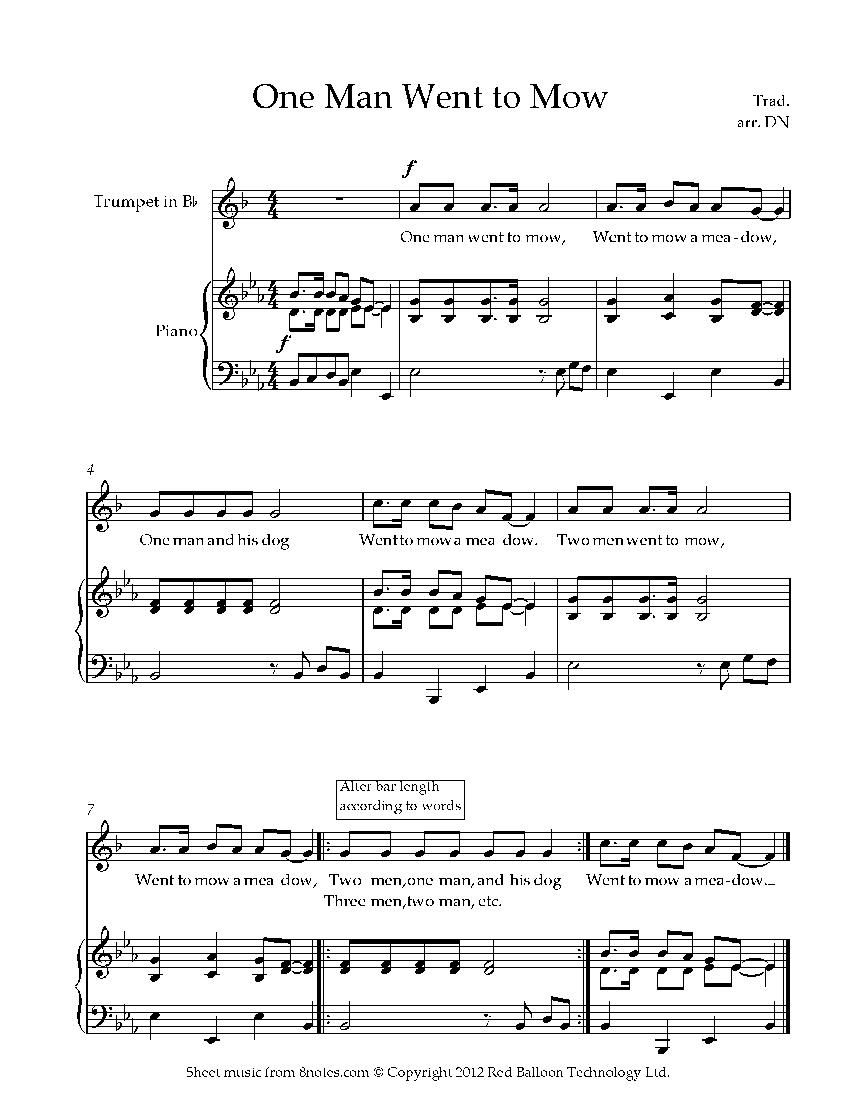 one man went to mow sheet music for trumpet - 8notes.com  8notes
