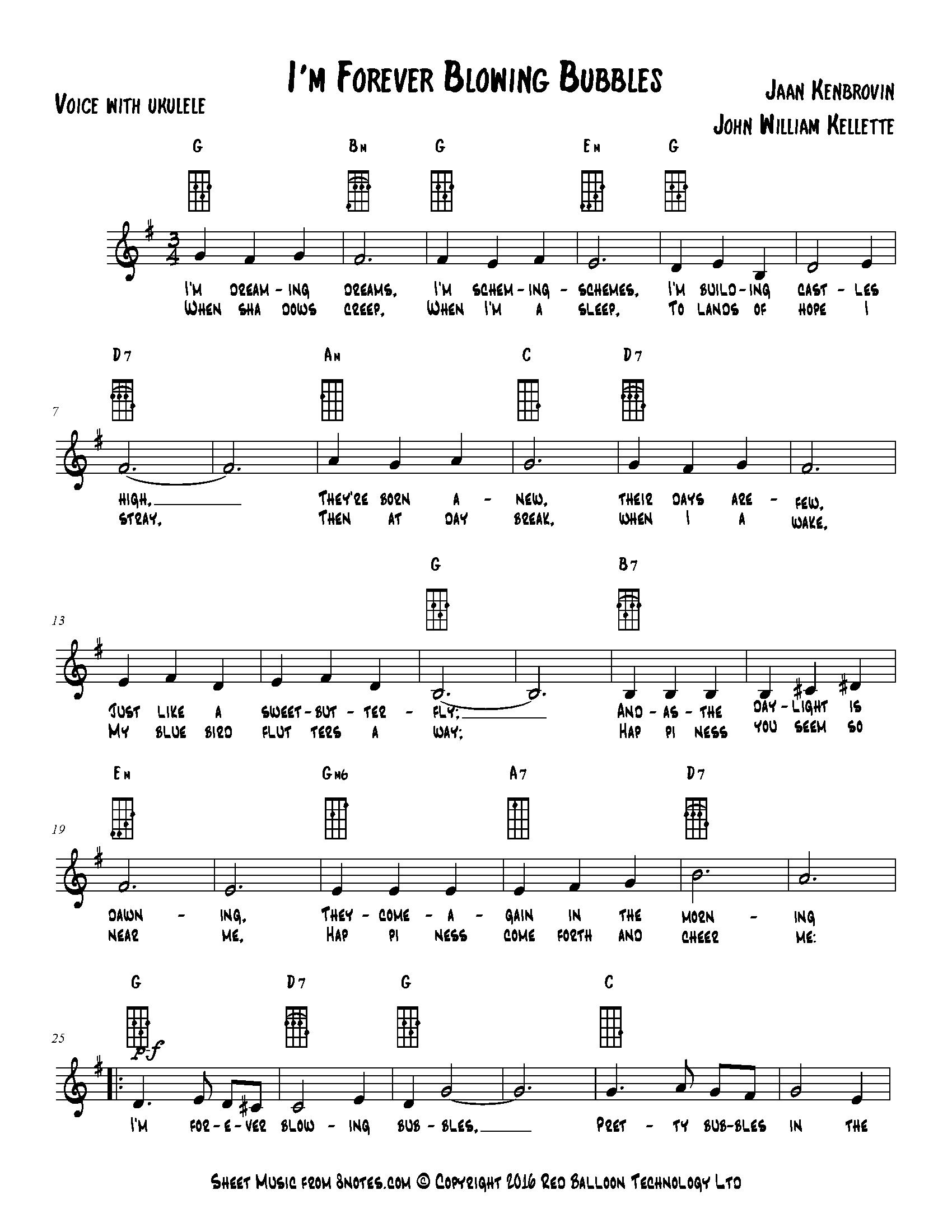 john william kellette - i'm forever blowing bubbles sheet music for ukulele lead  sheets - 8notes.com  8notes